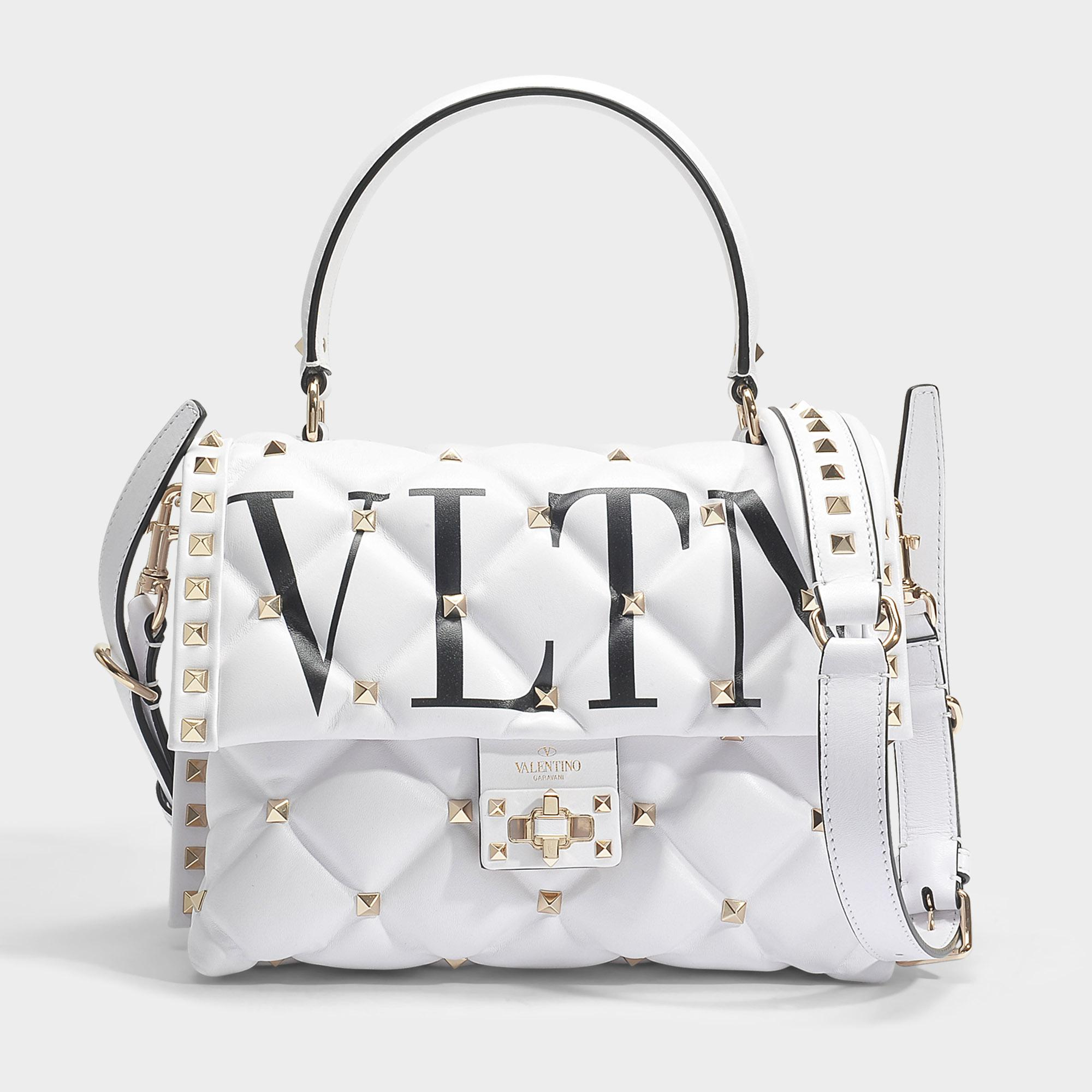 Candy Lock Single Handle Bag in Black and White Calf Valentino d9MsRhJLv