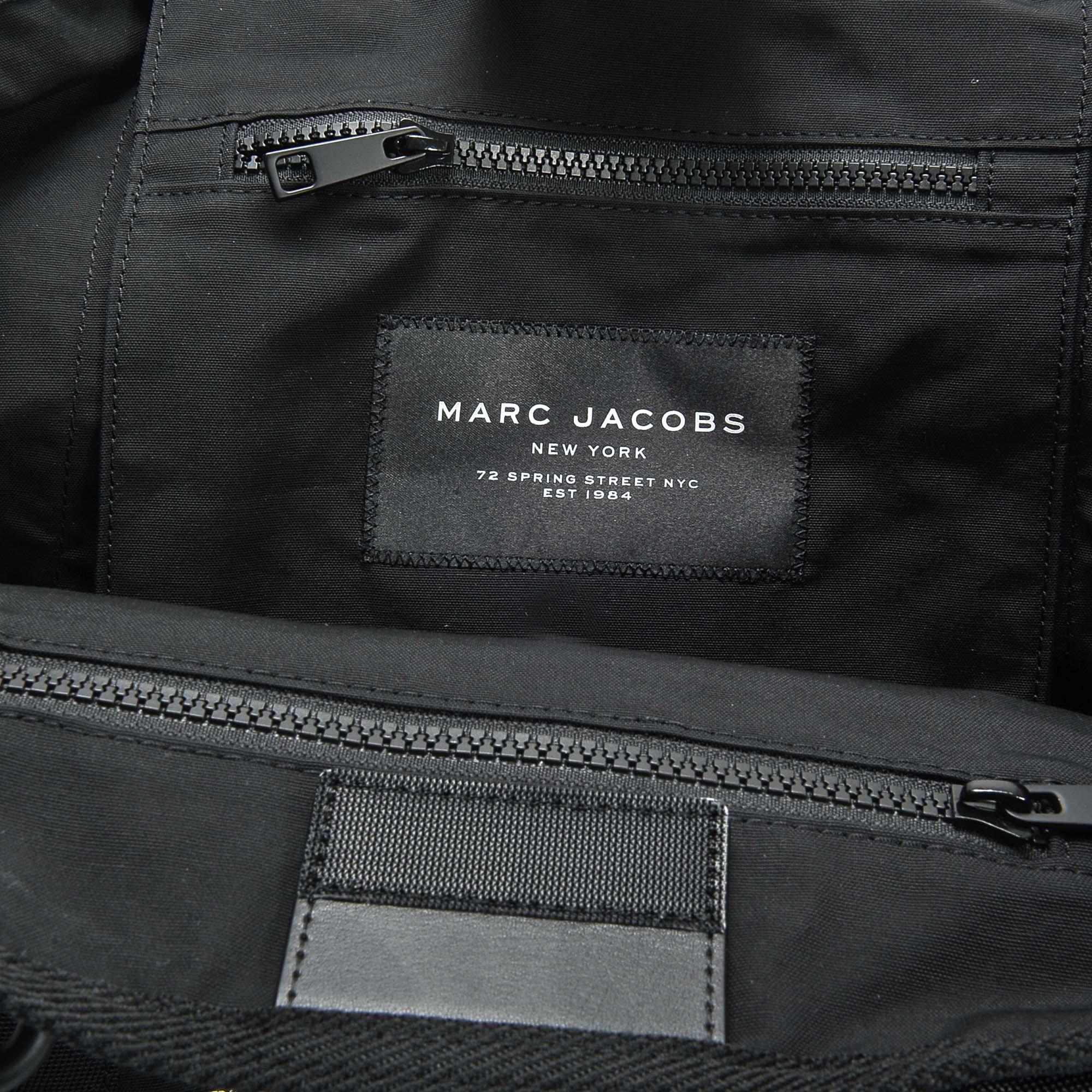 Marc Jacobs Logo Small Tote Bag In Black Cotton And Nylon