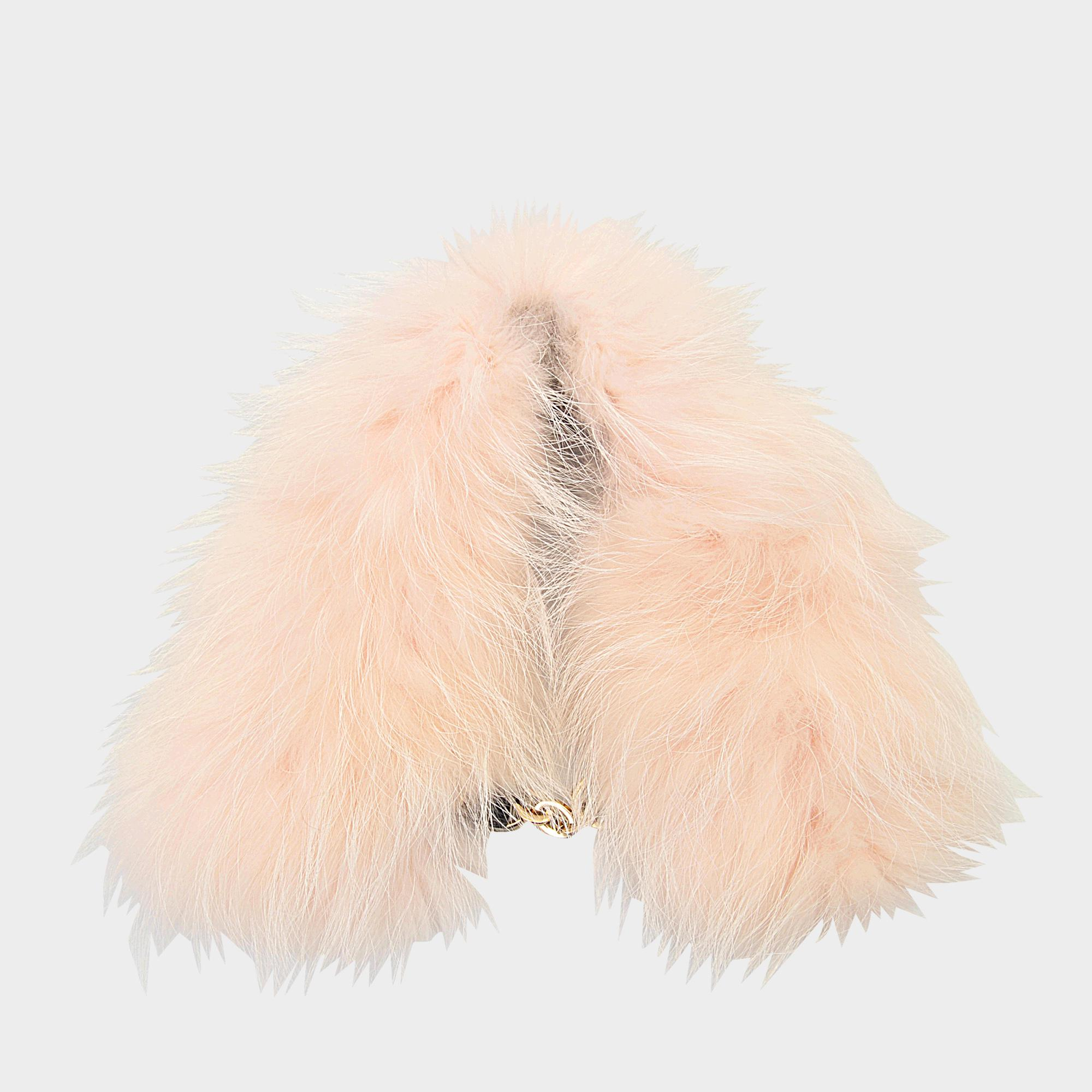 Yves Salomon Collar In Marmot Fur With Chain in Pink