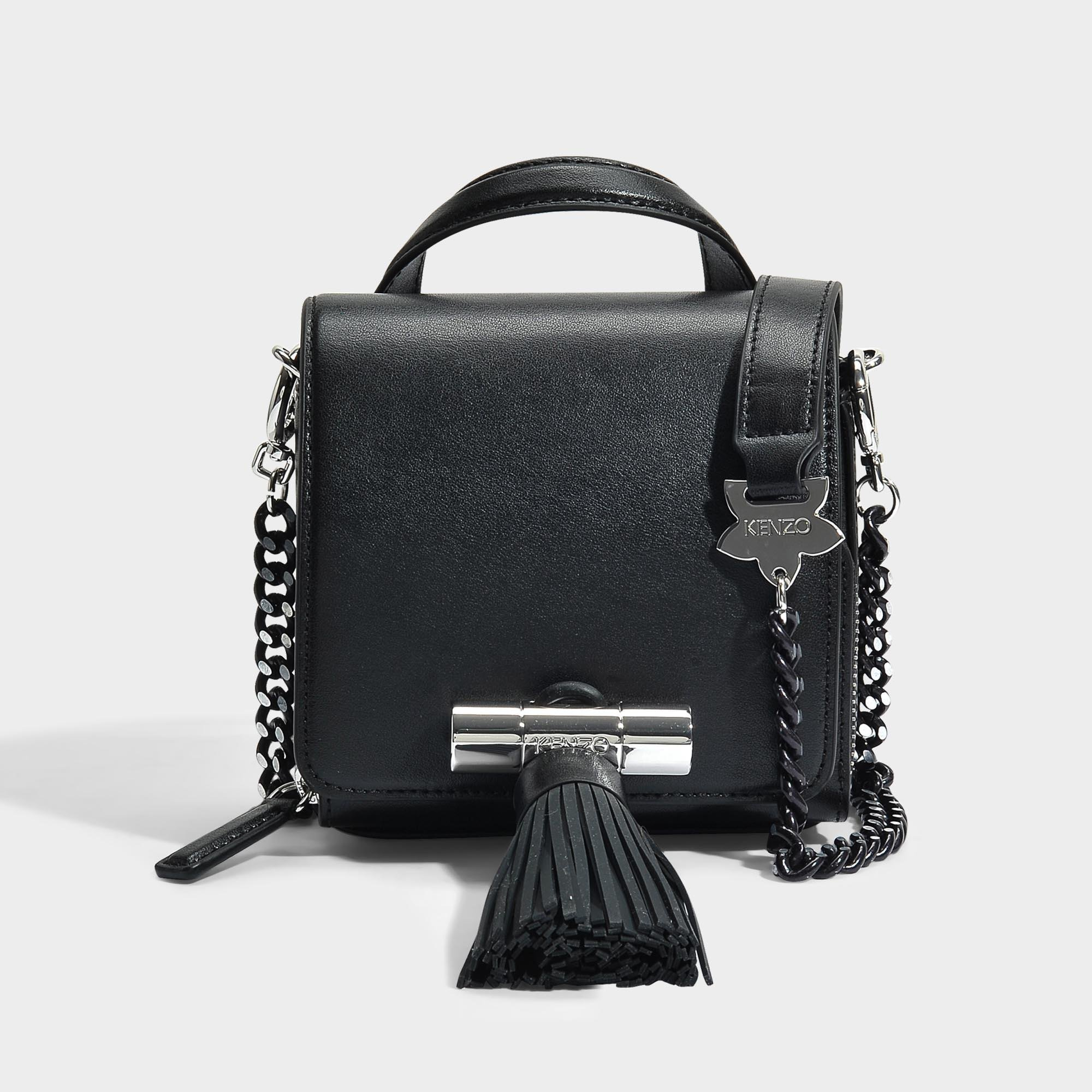2b71a4a813 KENZO Sailor Chain Mini Top Handle Bag In Black Leather in Black - Lyst