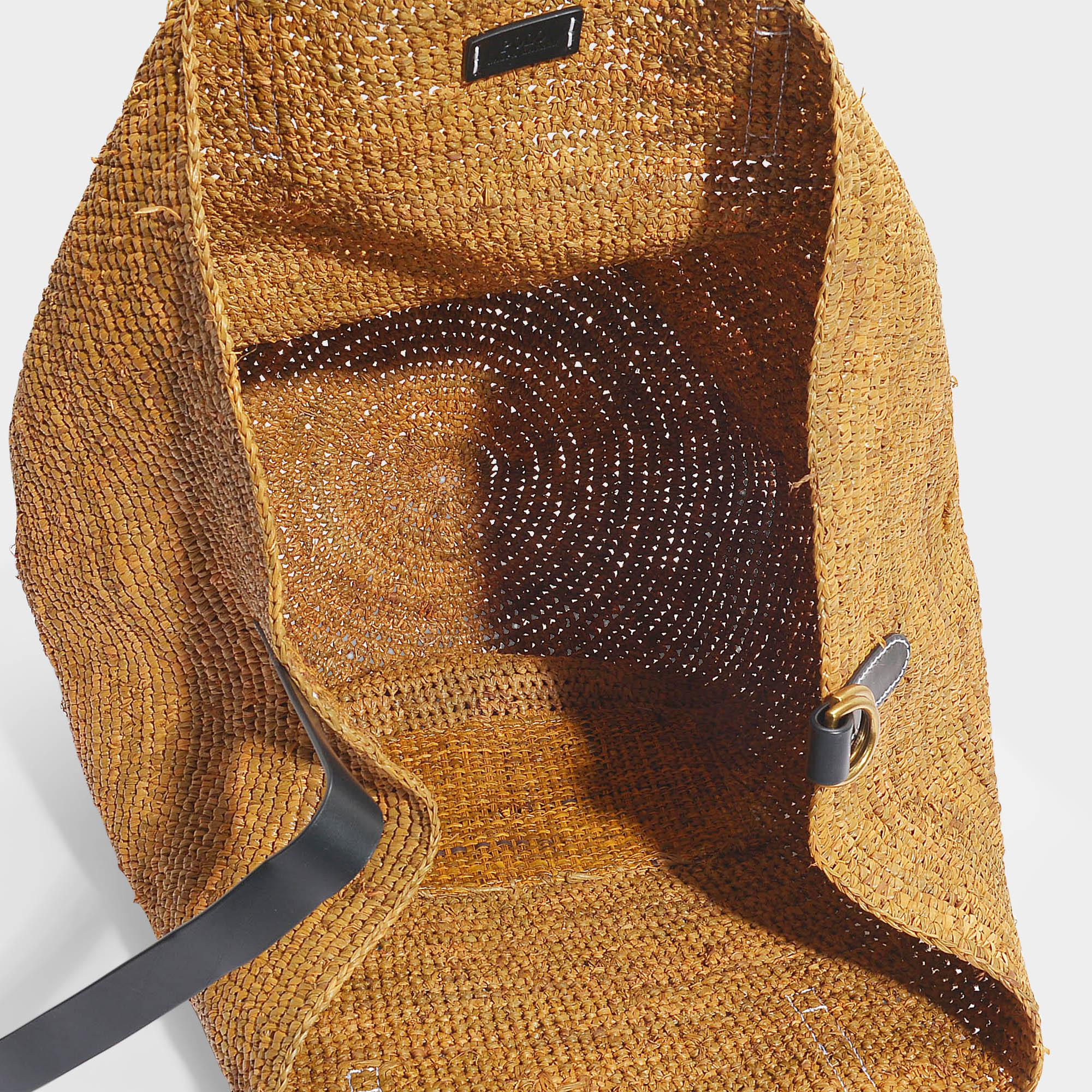Coloris Raphia Brown Beige En Polo Cabas Raffia Ralph Lauren 7bgyf6