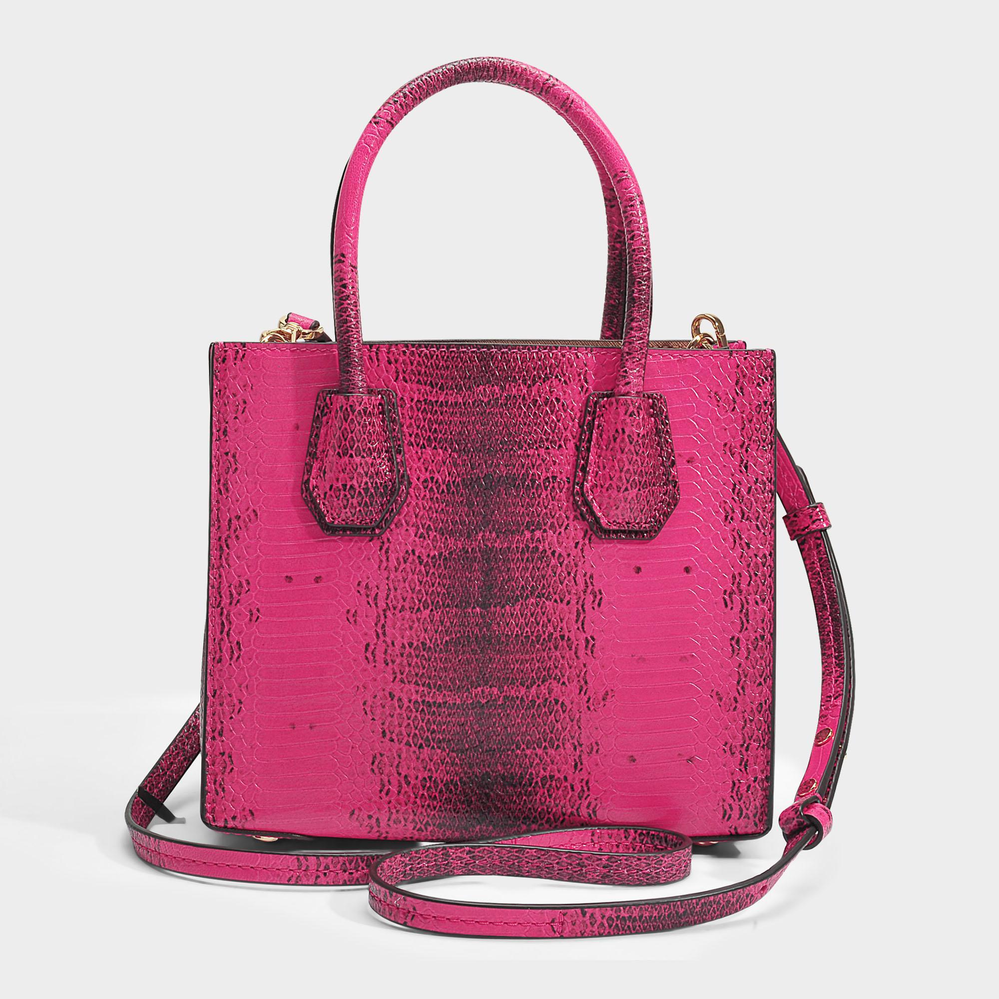 Mercer Medium Messenger Bag in Ultra Pink Python Embossed Calfskin Michael Michael Kors MXRZYX