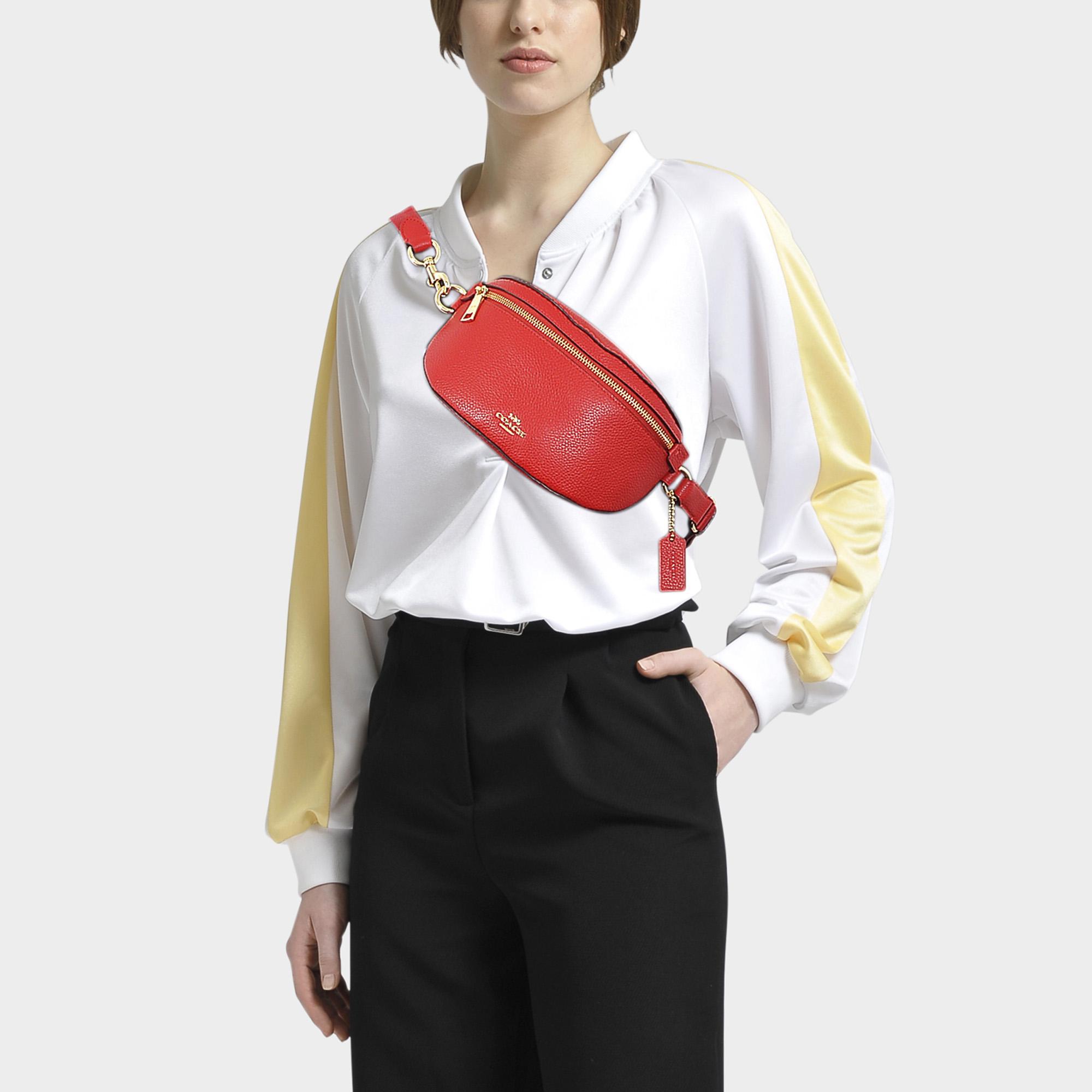 b35e75b52d36d COACH - Red Belt Bag In Jasper Polished Pebble Leather - Lyst. View  fullscreen