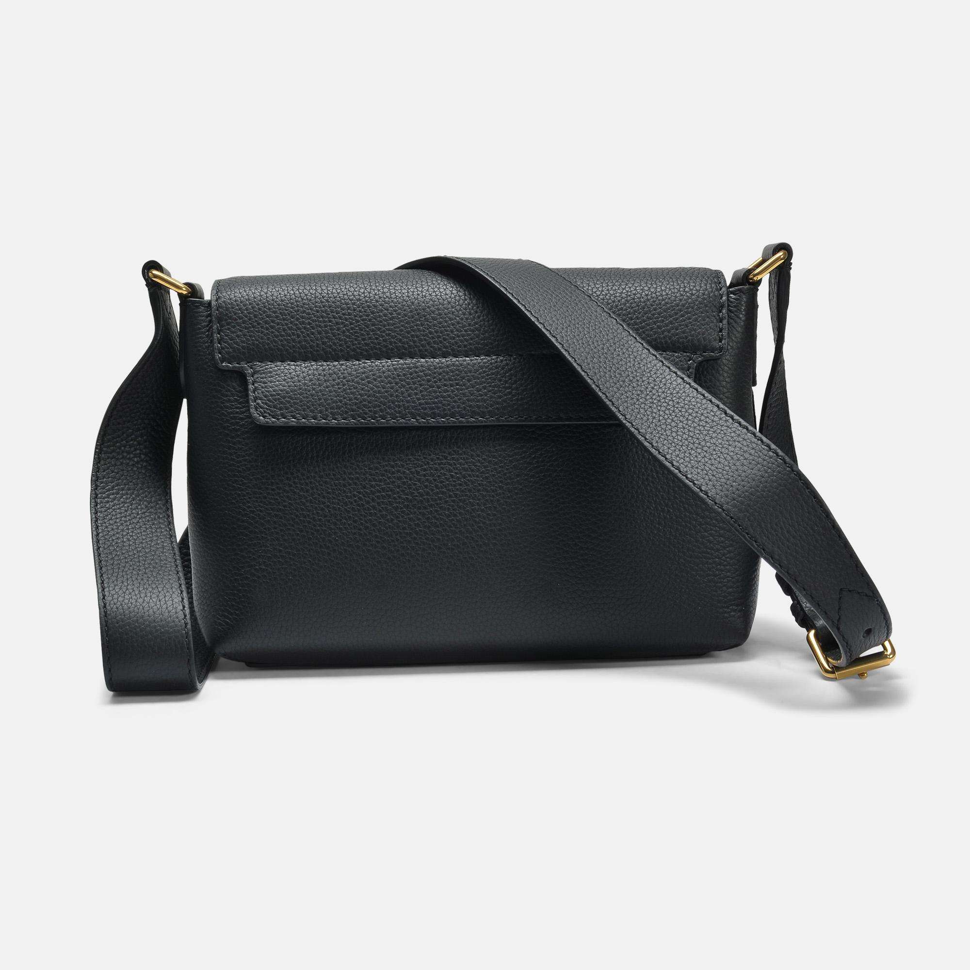 Burberry Leather Small Burleigh Crossbody Bag In Black Grained Calfskin