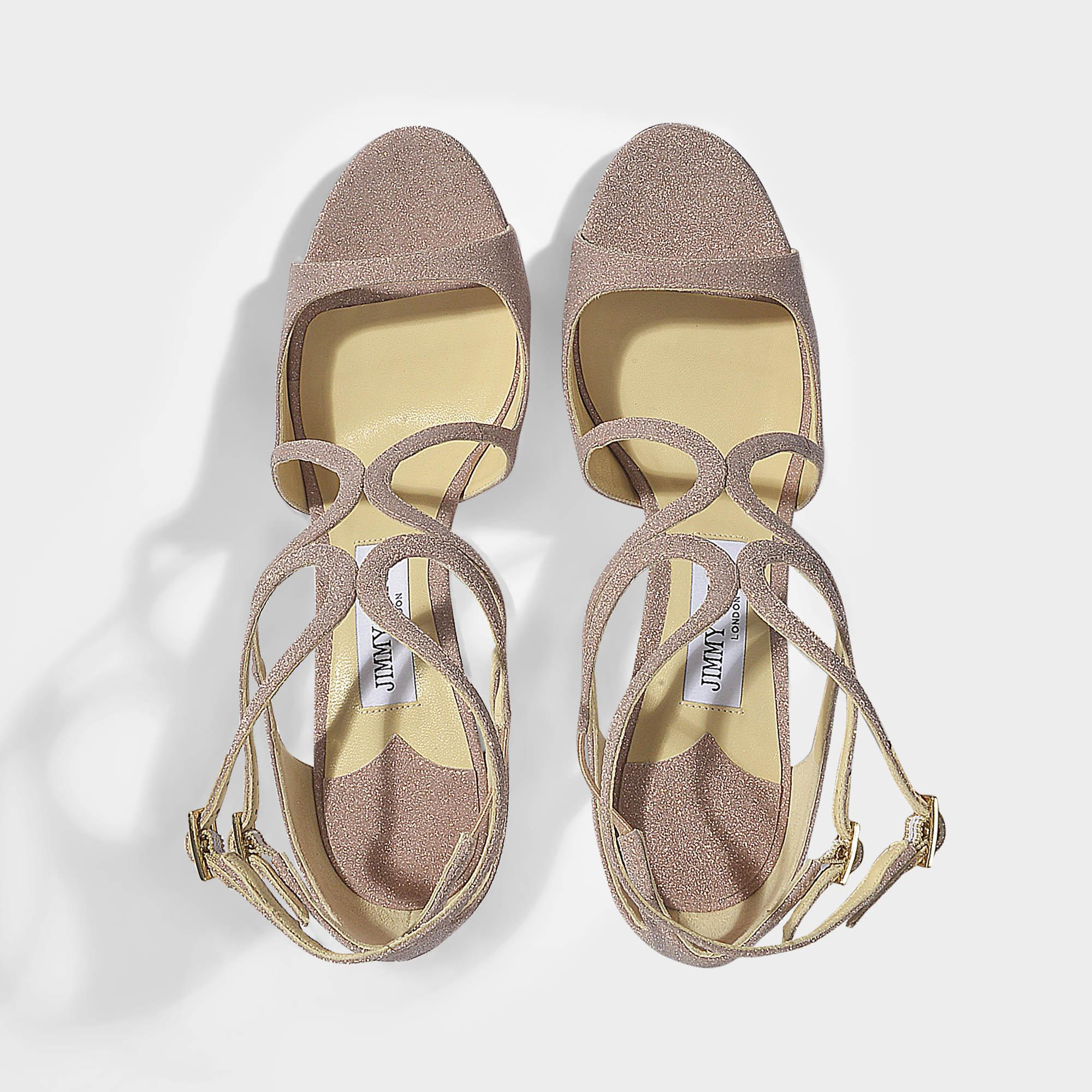 72c50ef338c Jimmy Choo Lance 100 Cross Front Sandals In Ballet Pink Fine Glitter ...