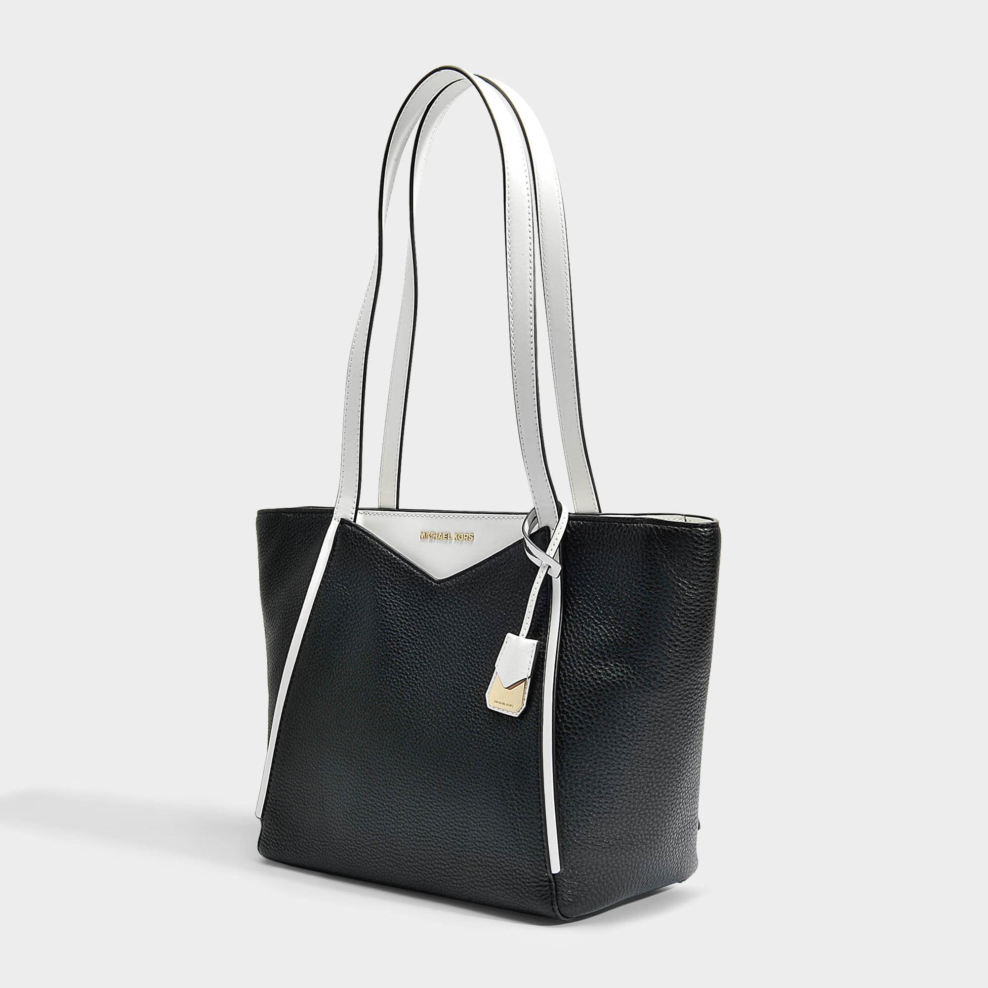 Petit sac cabas top zip en cuir noir et blanc