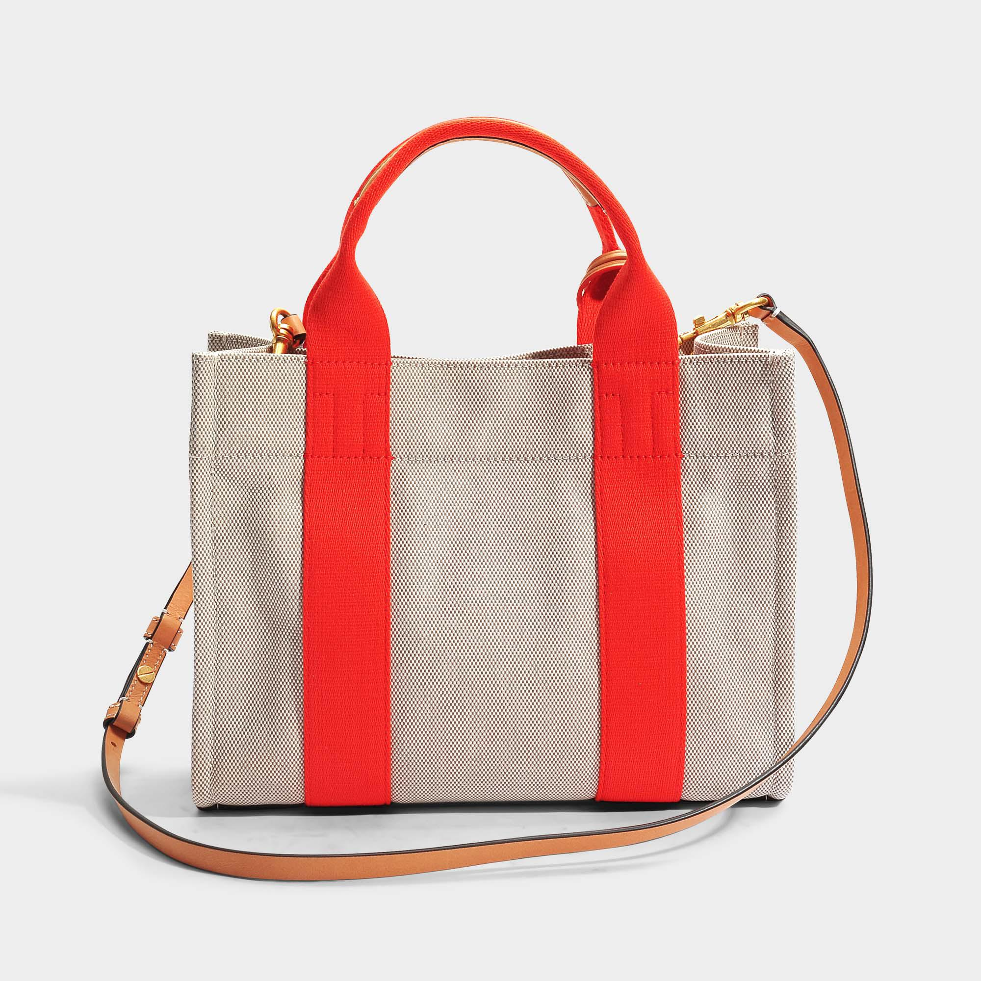 ec58dc46065f Lyst - Tory Burch Miller Canvas Mini Tote Bag In Natural And Poppy ...
