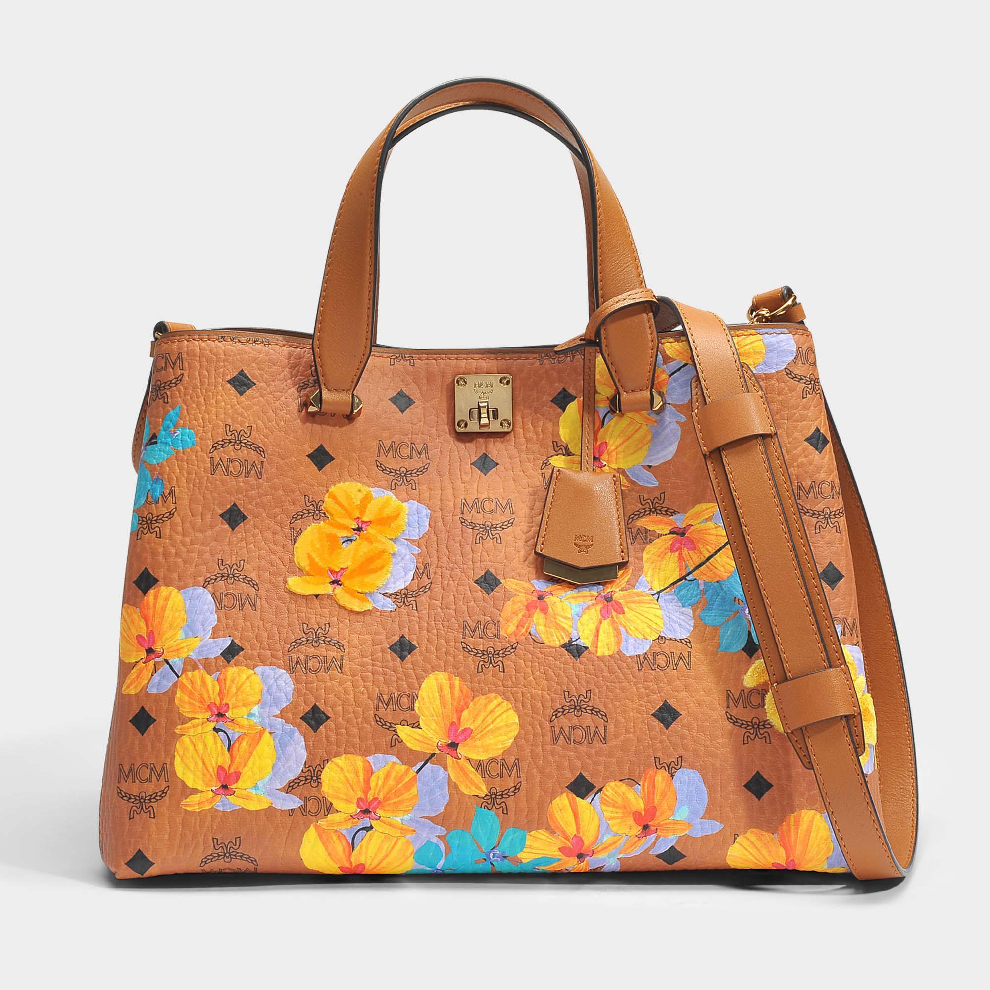 829dd390f MCM Flower Crossbody Tote Bag In Cognac Coated Cotton - Lyst