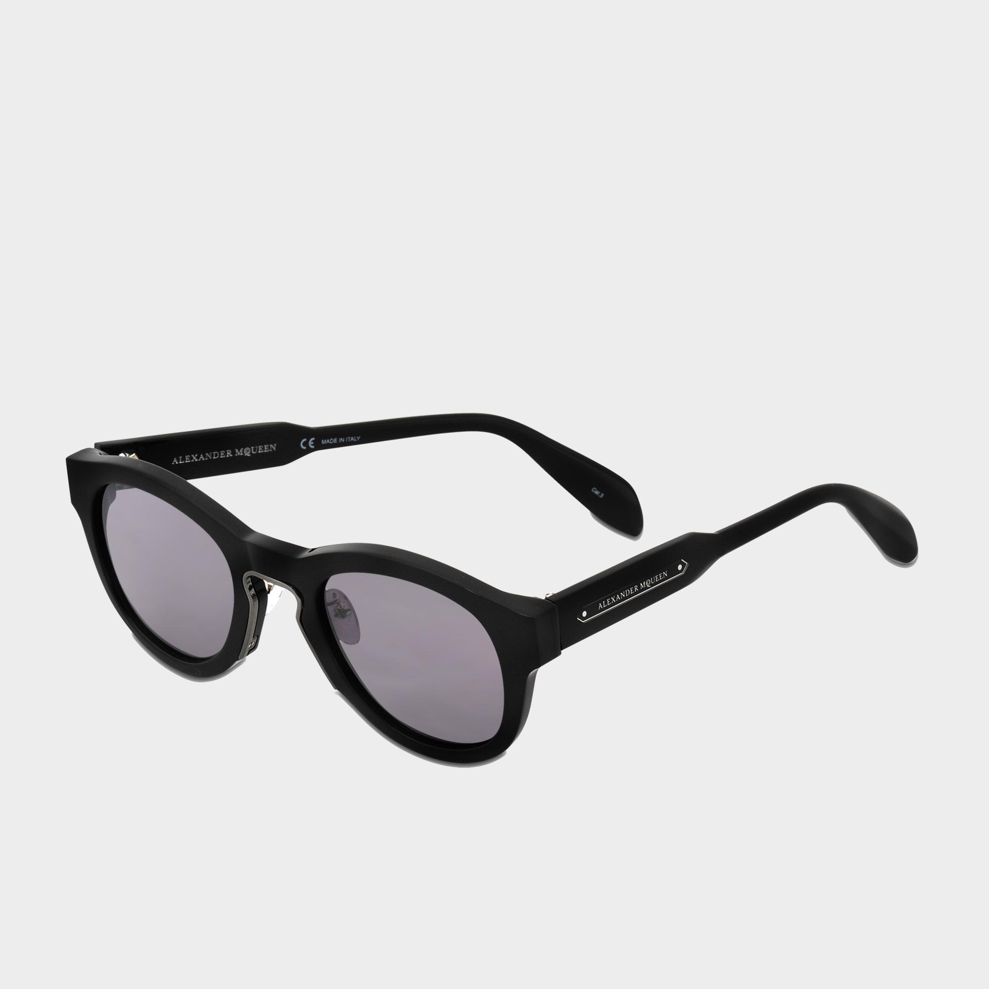 Alexander McQueen Metal Insert Sunglasses in Silver (Metallic)