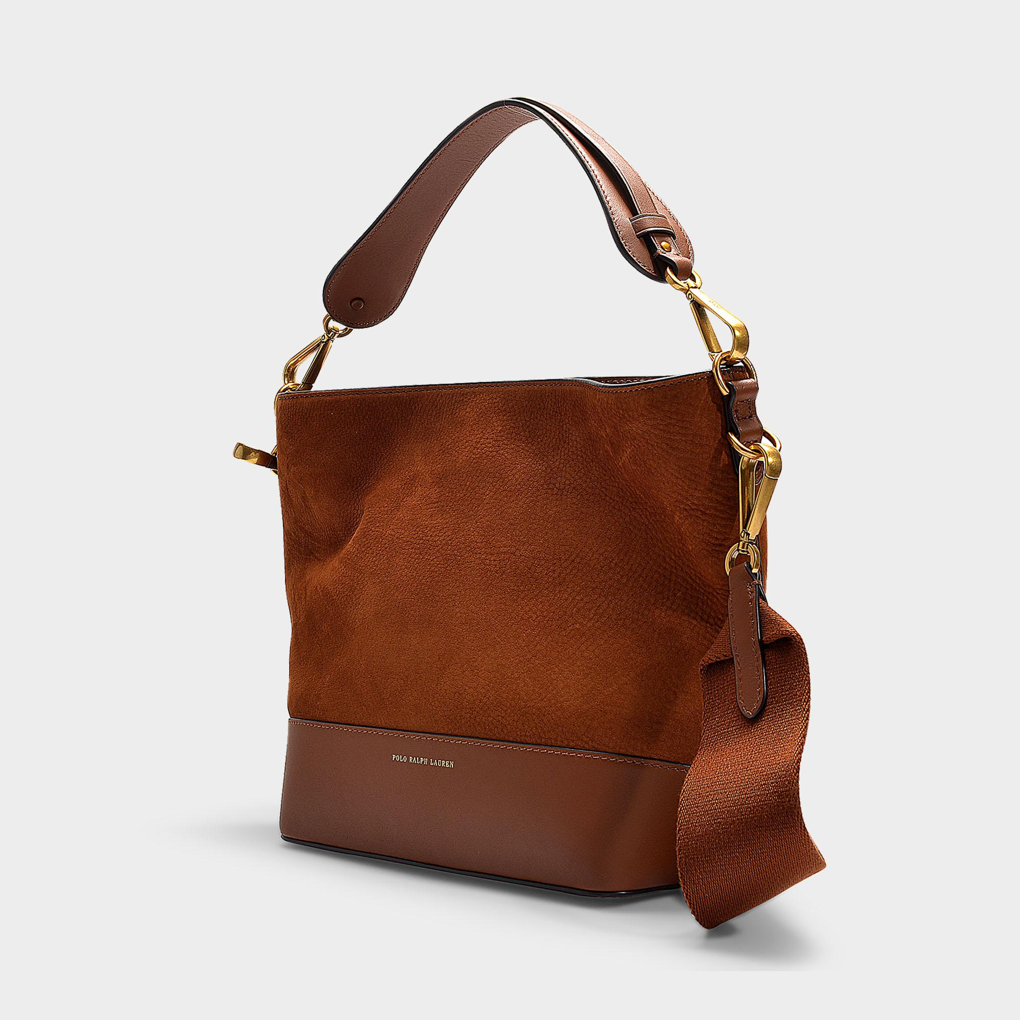 014ae68956e7 Polo Ralph Lauren - Brown Sullivan Bucket Hobo Small Bag In Saddle Nubuck  And Nappa Leather. View fullscreen