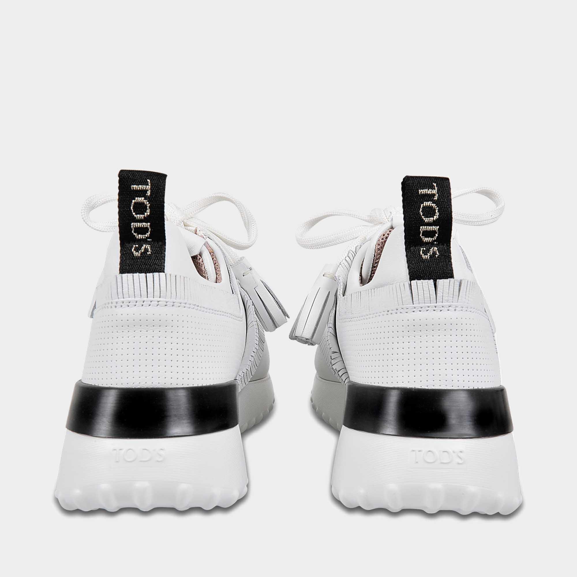 Tod's Leather Sportivo Fringed Sneakers In White Calfskin