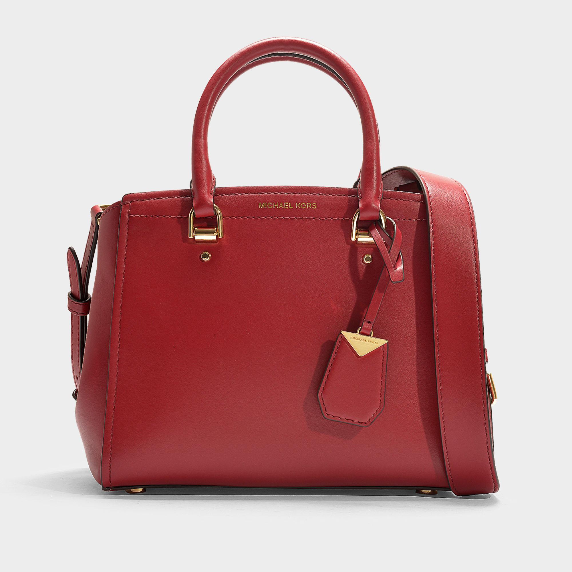 76829bd3e4f3 Lyst - MICHAEL Michael Kors Benning Medium Messenger Bag In Red ...