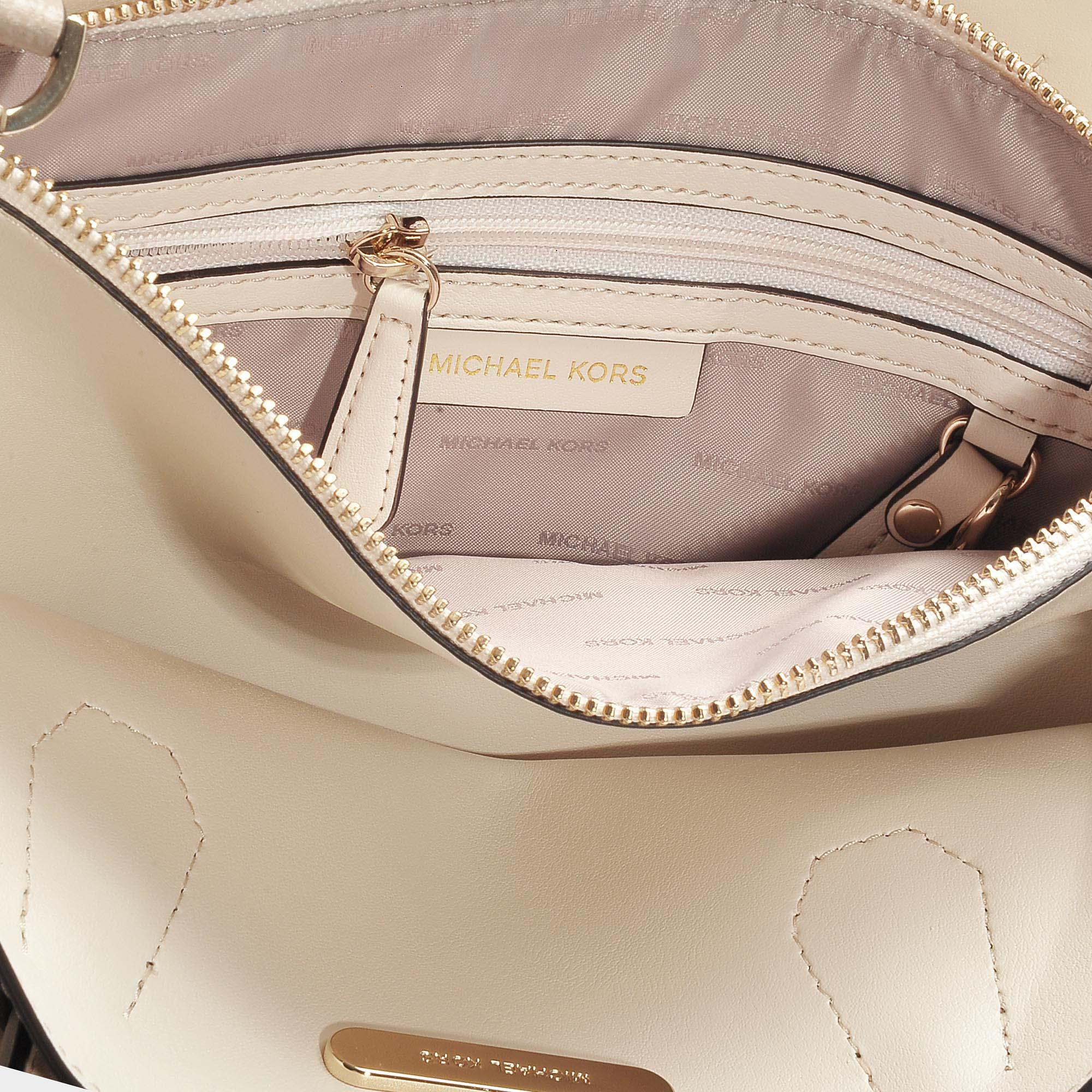MICHAEL Michael Kors Mercer Large Convertible Tote In Beige Calfskin in Natural