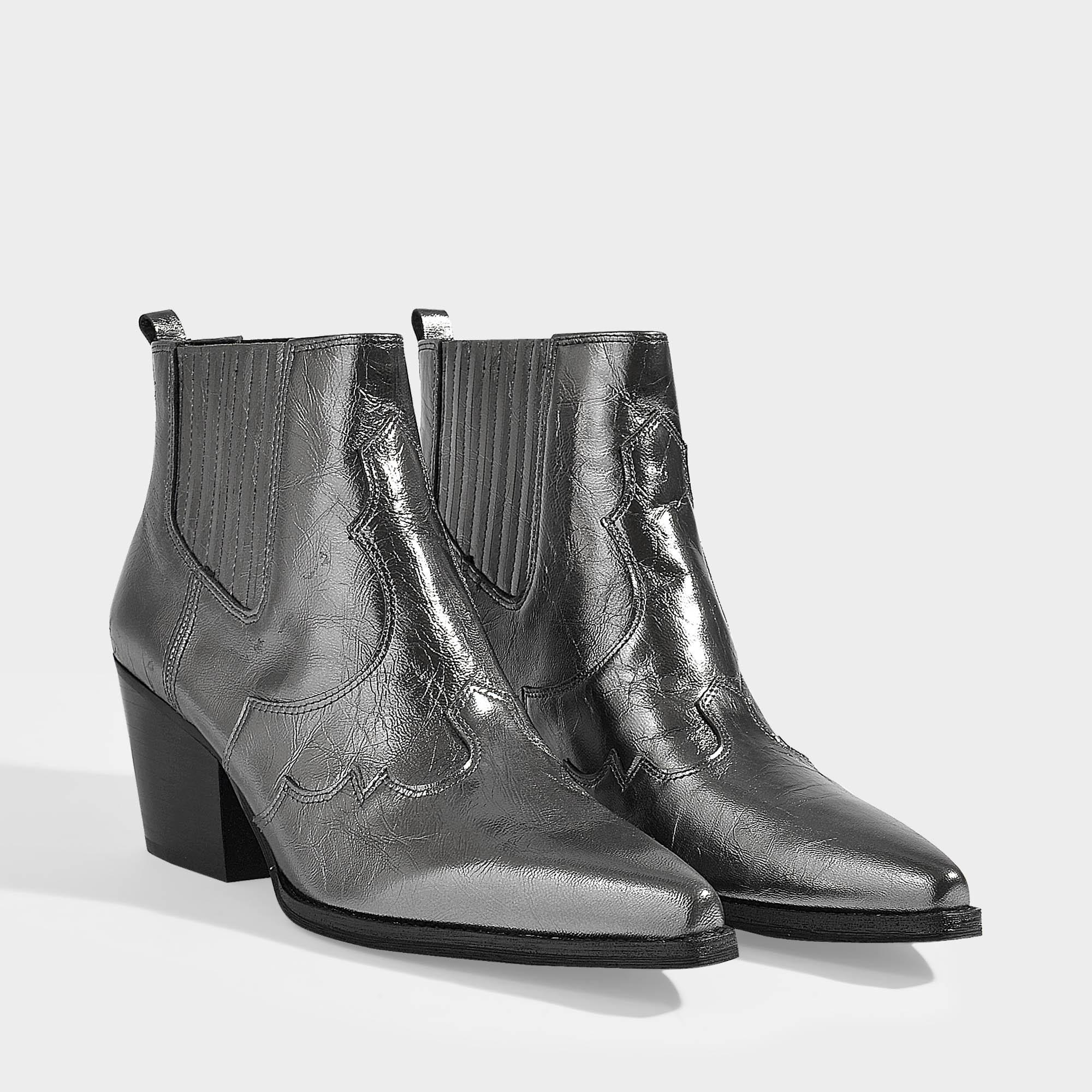 a5387bb989c842 Lyst - Sam Edelman Winona Ankle Boots In Anthracite Calfskin