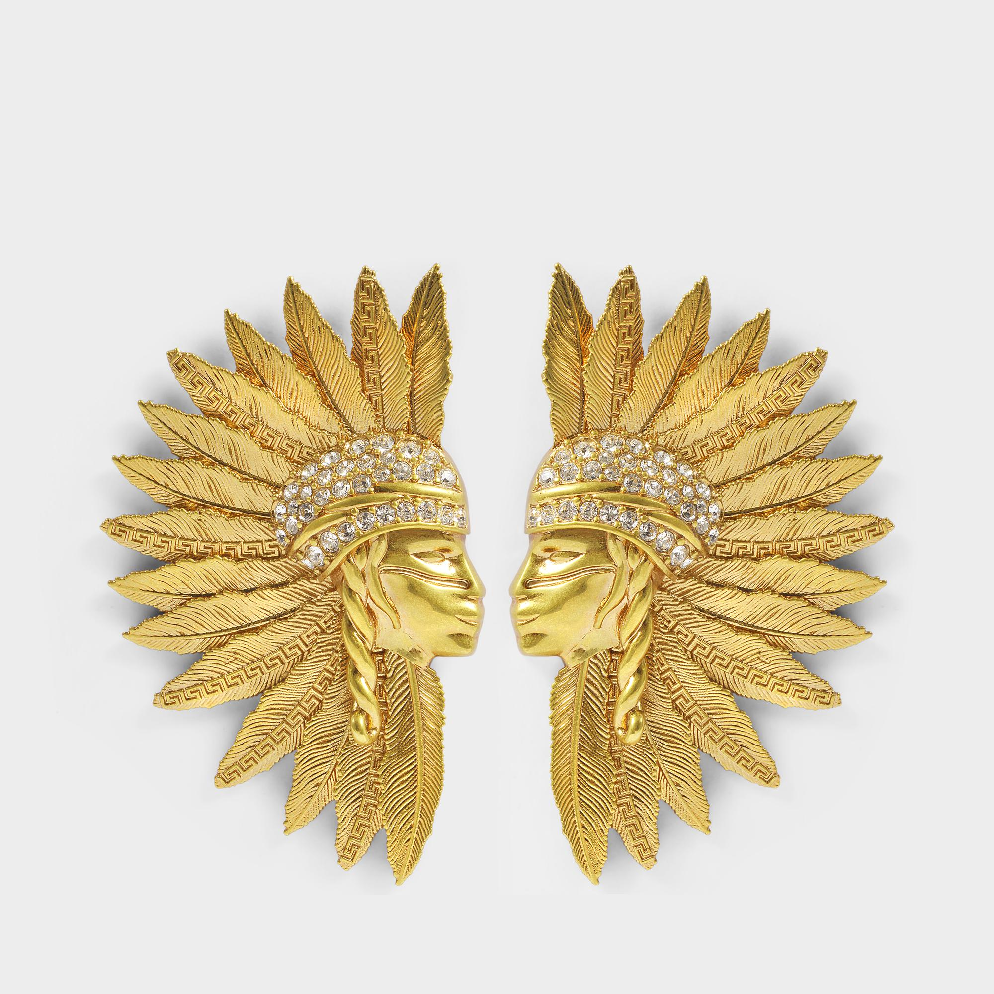 Versace Tribute Buffalo Bill Earrings in Gold Brass NuZwr