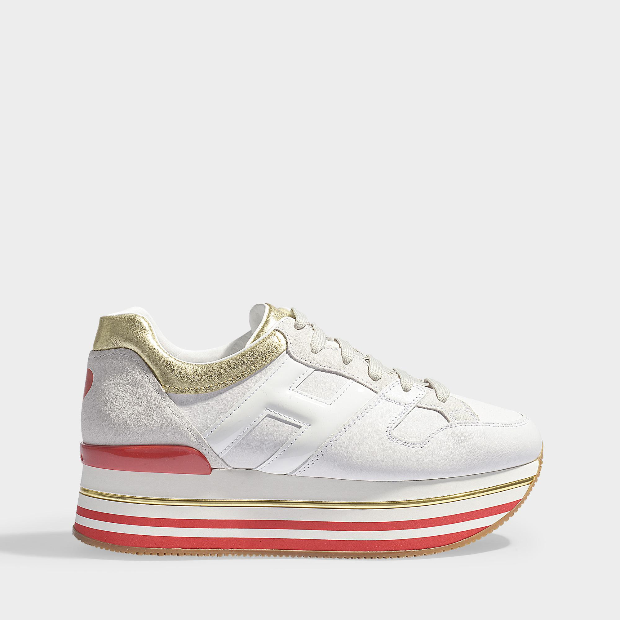 Hogan Maxi Platform Sneakers With Heart In White, Gold And Red ...