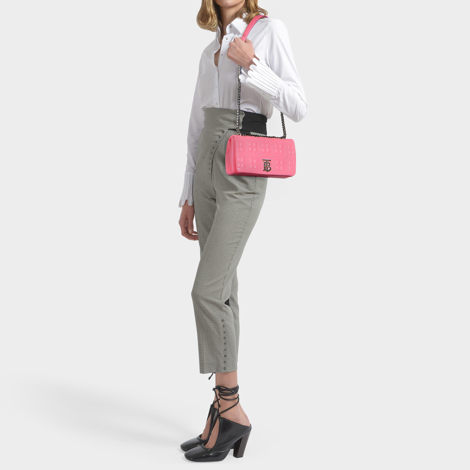Burberry Lola Small Bag In Pink Caviar Quilted Check Leather in ...