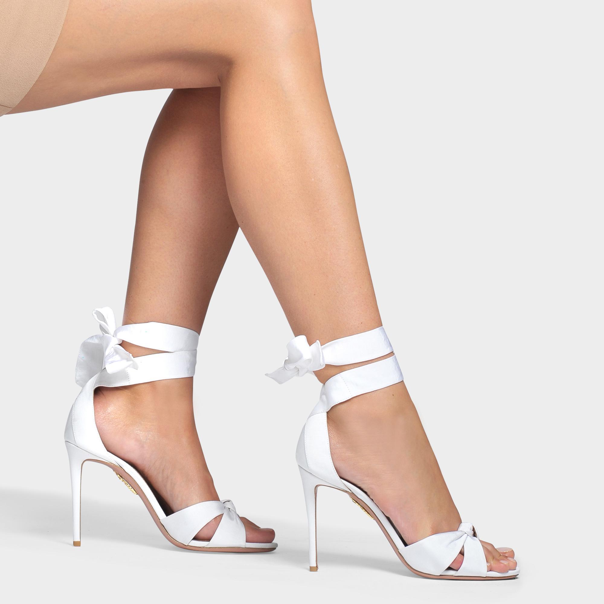 c858f1ea8232 Lyst - Aquazzura All Tied Up 105 Sandals In White Gros Grain in White