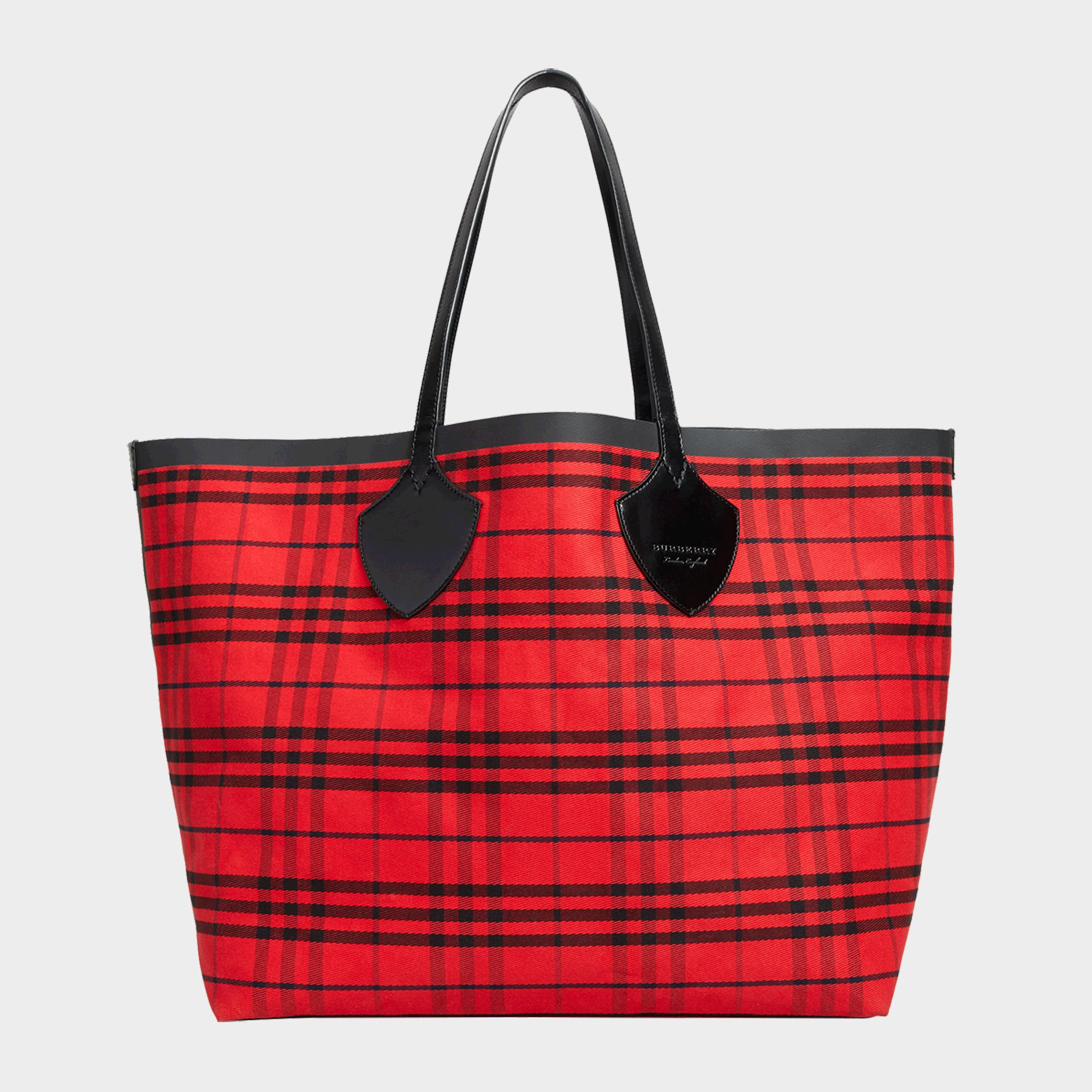Burberry The Giant Reversible Tote Bag In Ink Blue And Military Red Cotton