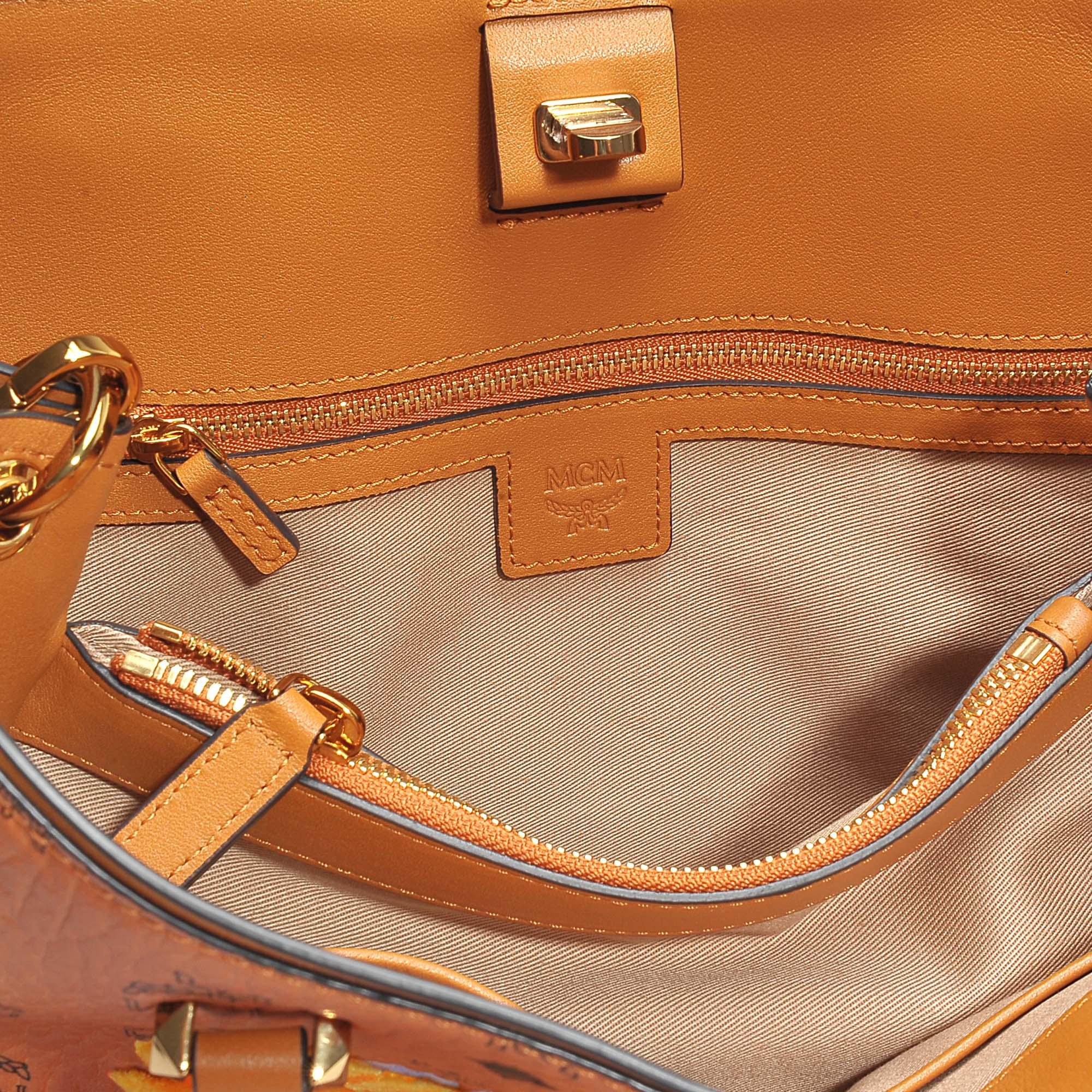 MCM Flower Crossbody Tote Bag In Cognac Coated Cotton