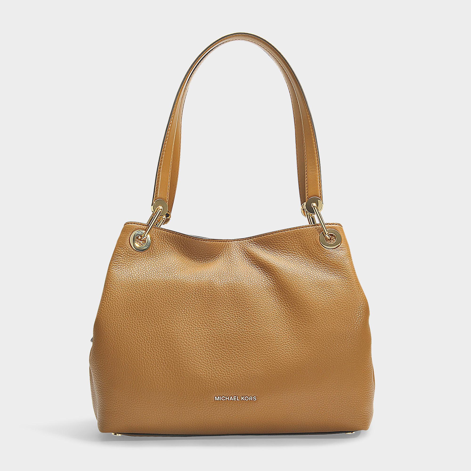 Grand sac cabas raven porté epaule en cuir de veau marron