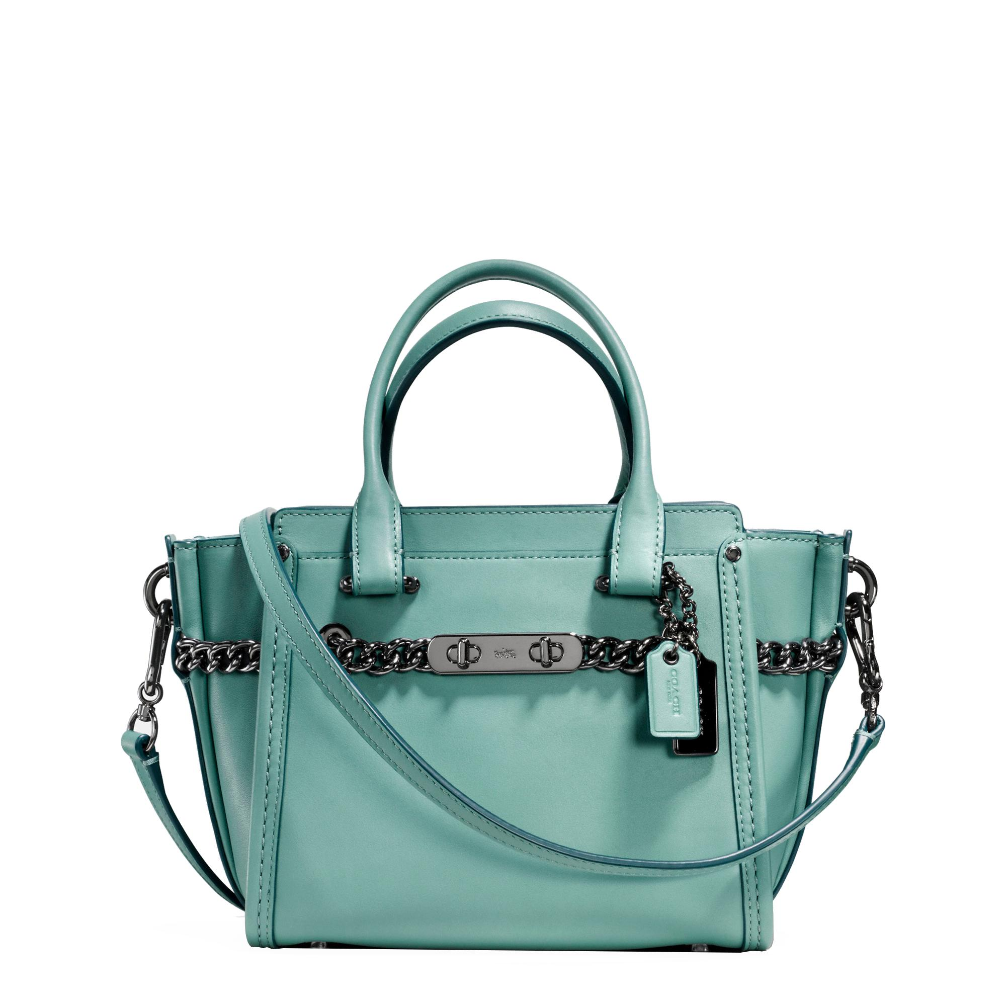 Lyst Coach Swagger 21 Bag In Blue 20 Pebbled Leather Peach Gallery