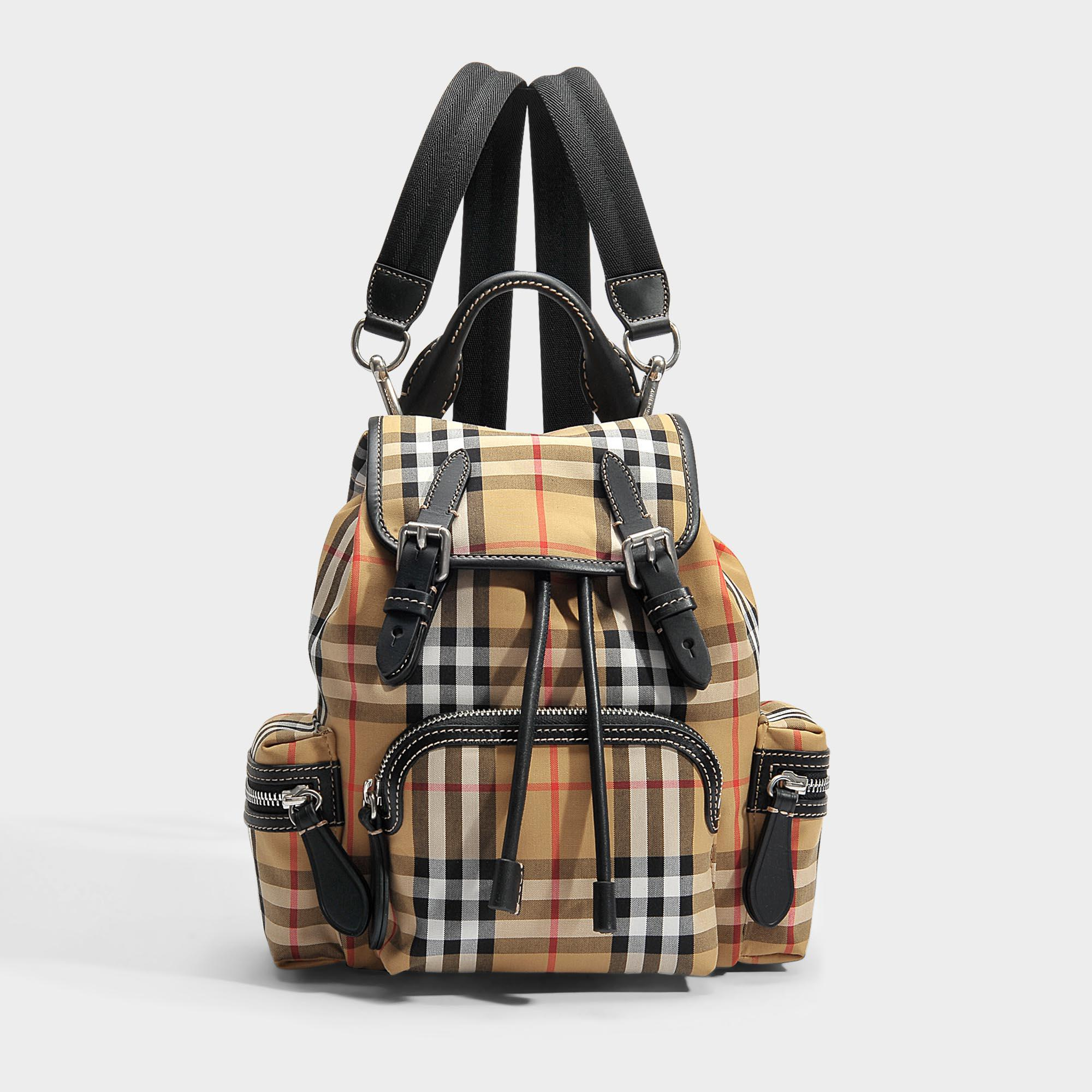 Small Vintage Check Disrupted Rucksack Backpack in Chalk White Canvas Burberry WTWFo