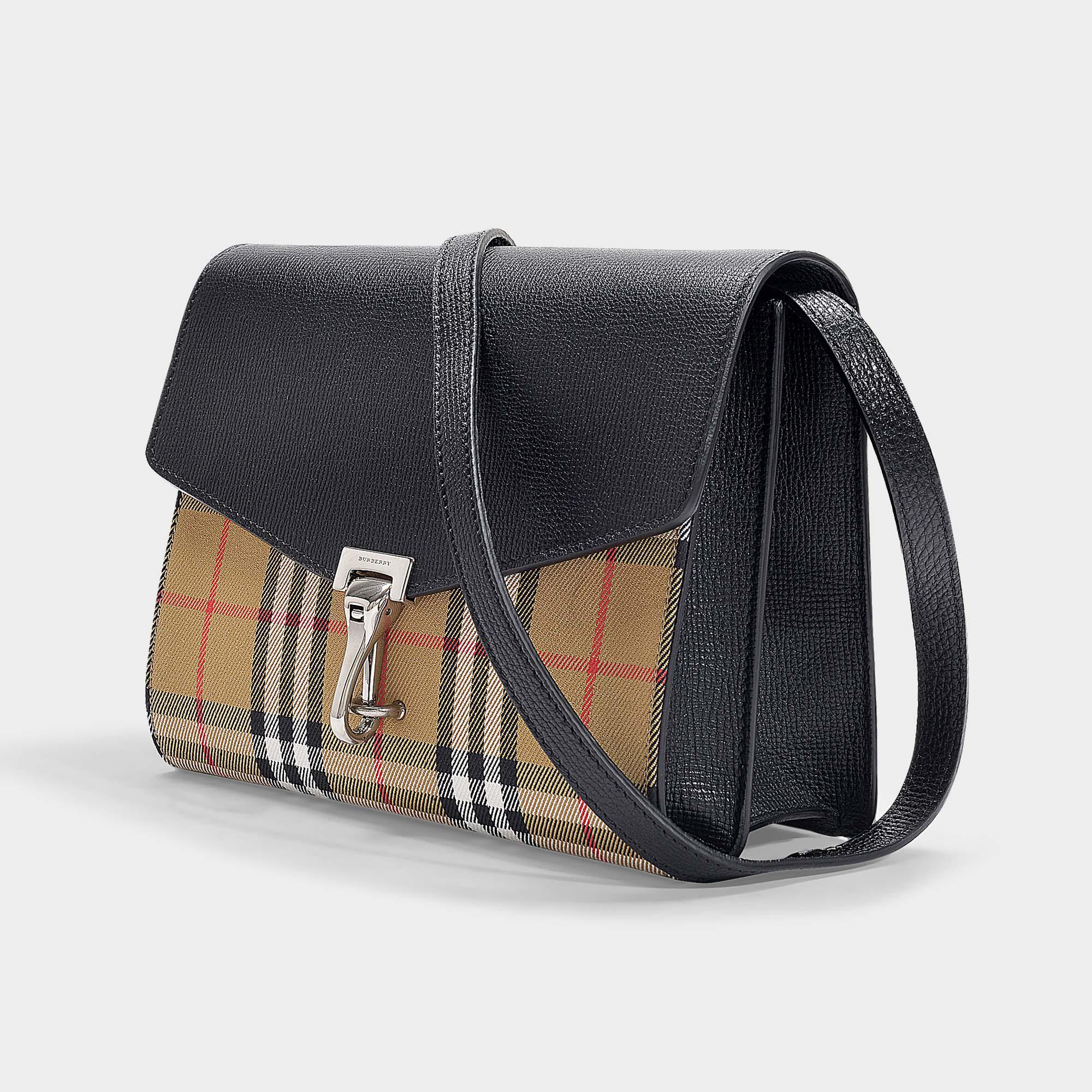 ebc4d4819c567 Burberry - Black Kleine Handtasche The Macken aus Vintage Check Stoff und  Taschenklappe aus schwarzem Kalbsleder. Vollbild ansehen