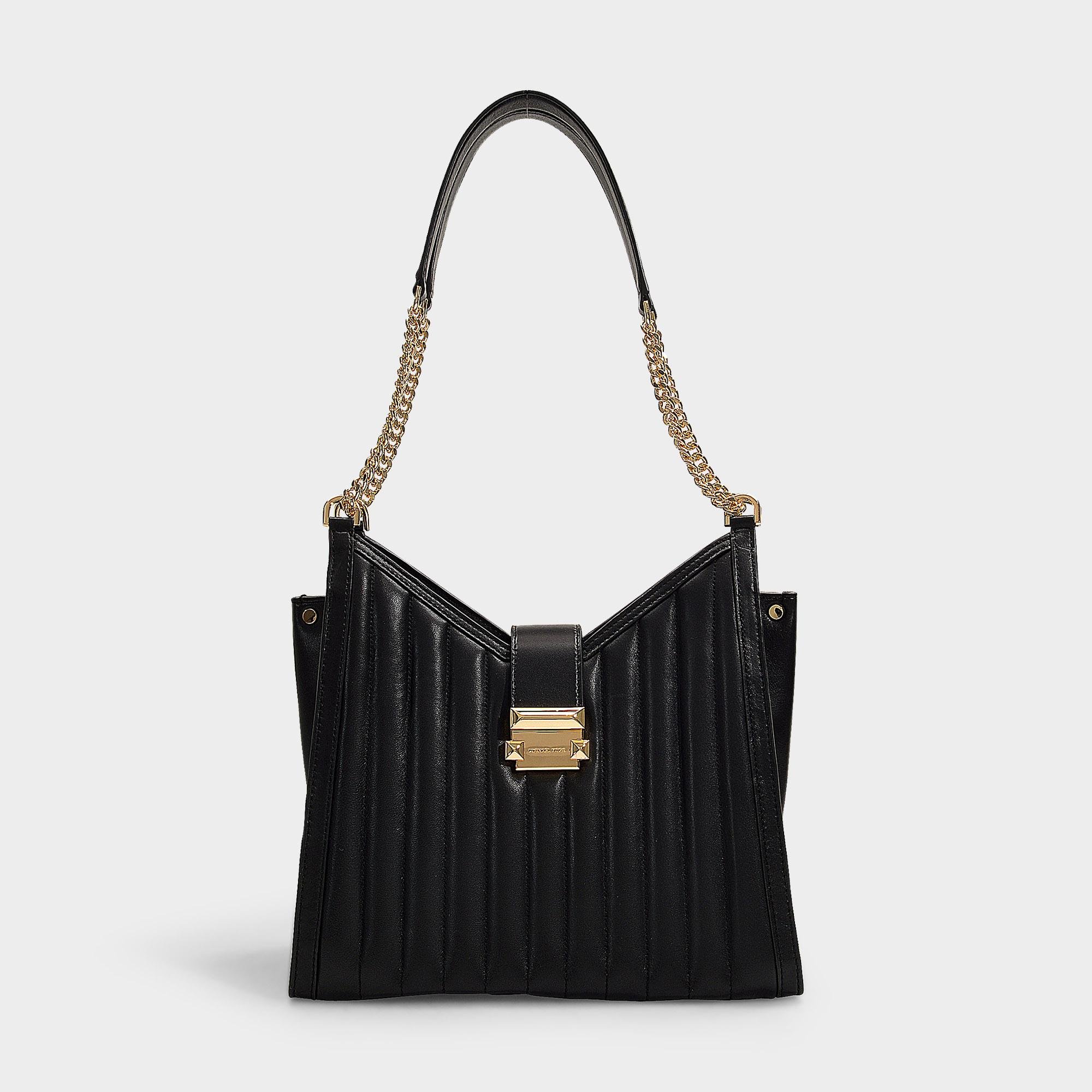 Whitney Medium Chain Shoulder Tote Bag In Black Quilted Lambskin