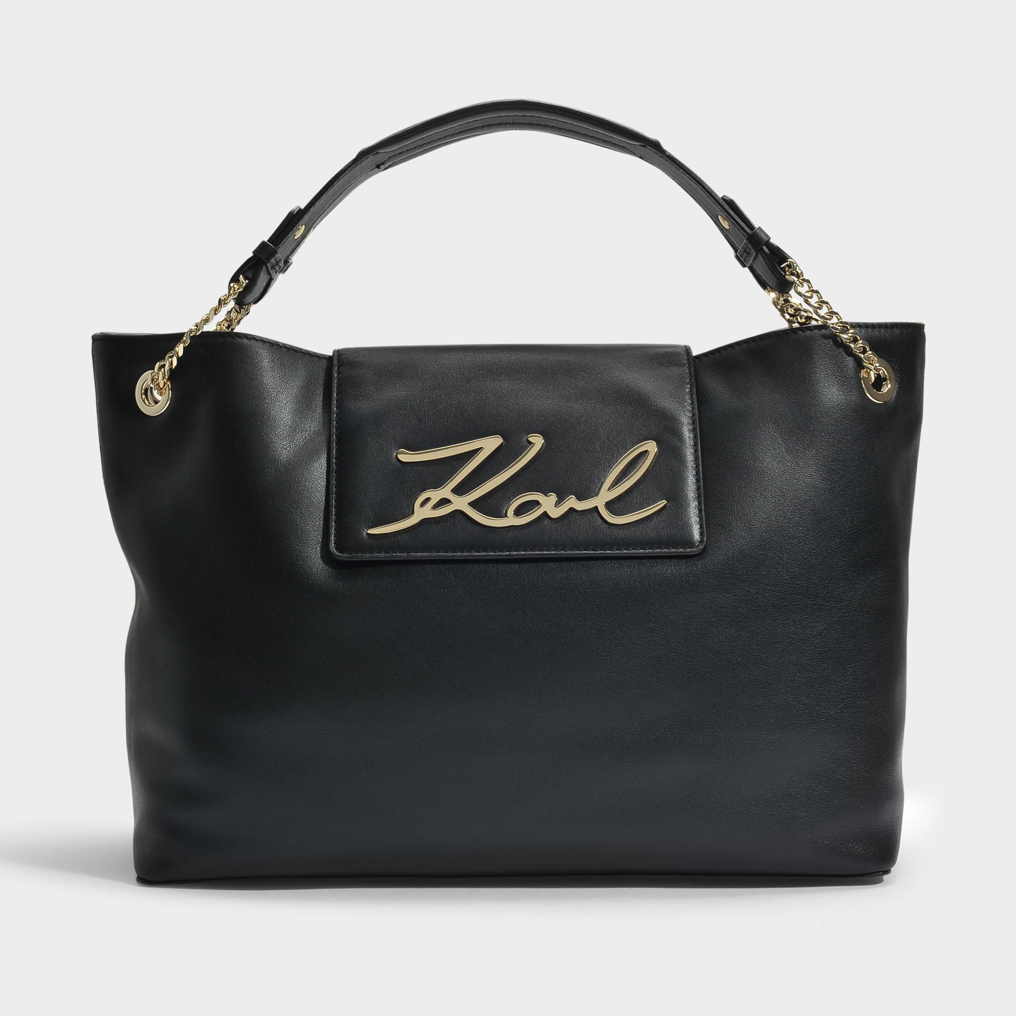 Karl Lagerfeld K / Signature Klassik Sac Souple Shopper En Cuir De Veau Lisse Noir uybJX