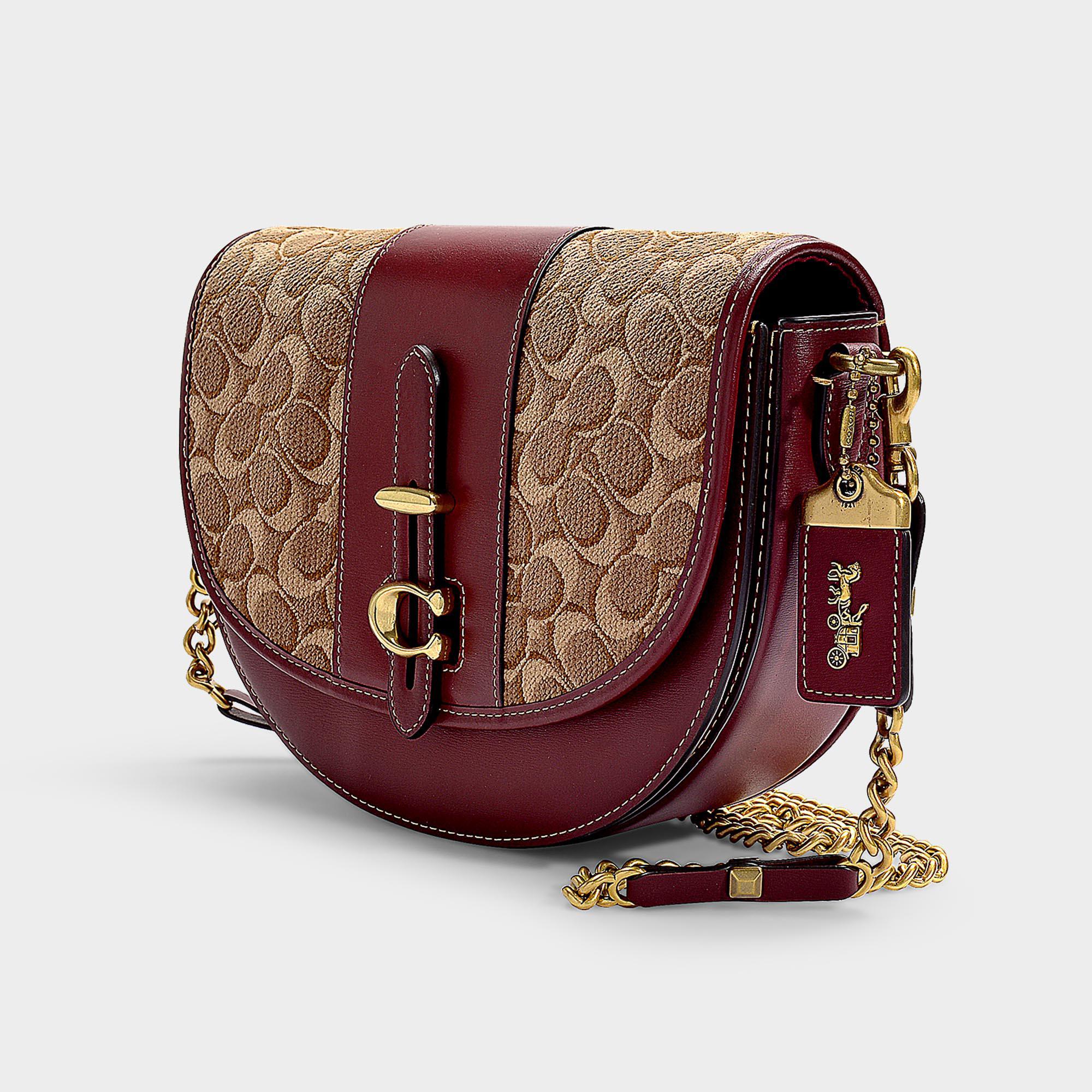 ... best price coach natural saddle bag 24 in tan scarlet signature jacquard  lyst. view fullscreen 305a1832e04fd