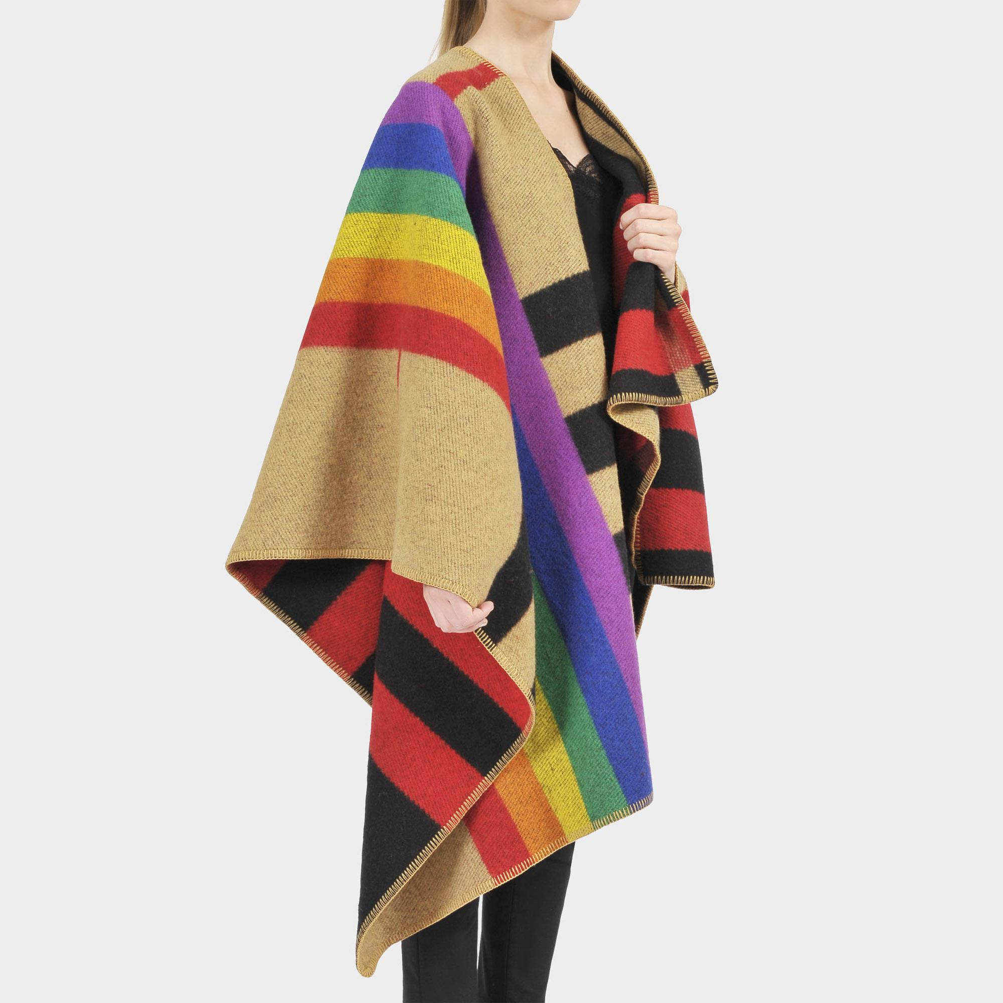 c604e2608d8 Burberry Rainbow Vintage Check Cashmere Poncho In Beige And ...