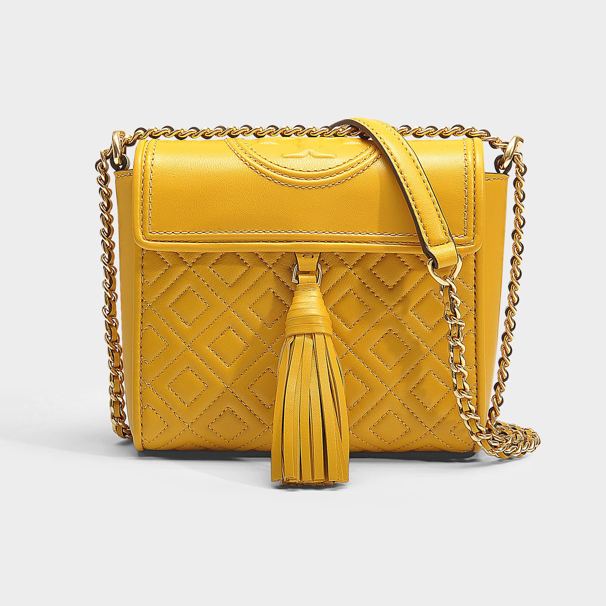 0c40c8e58d6 Lyst - Tory Burch Fleming Box Crossbody Bag in Yellow