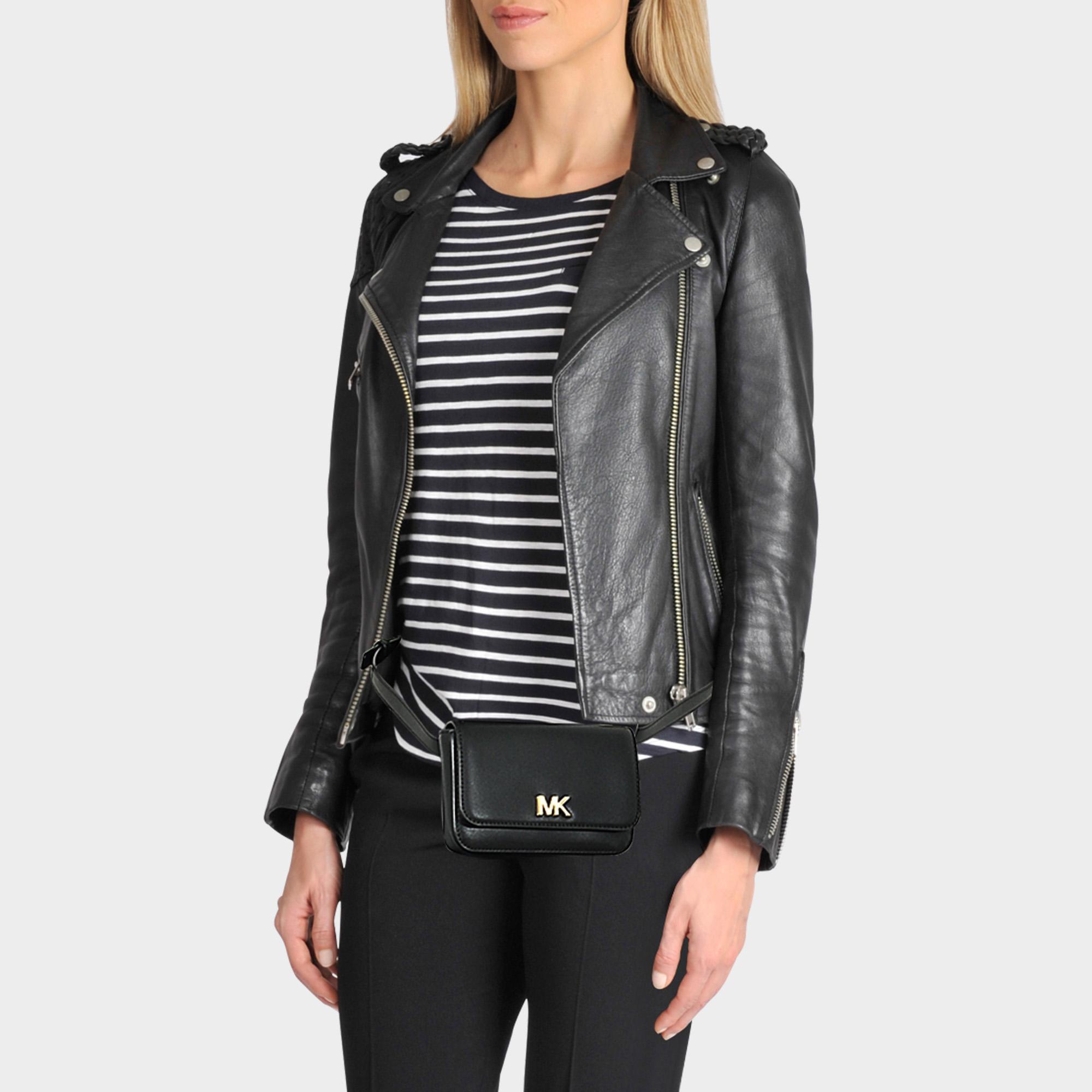 79dea68f163a0 Lyst - MICHAEL Michael Kors Mott Belt Bag In Black King Leather in Black