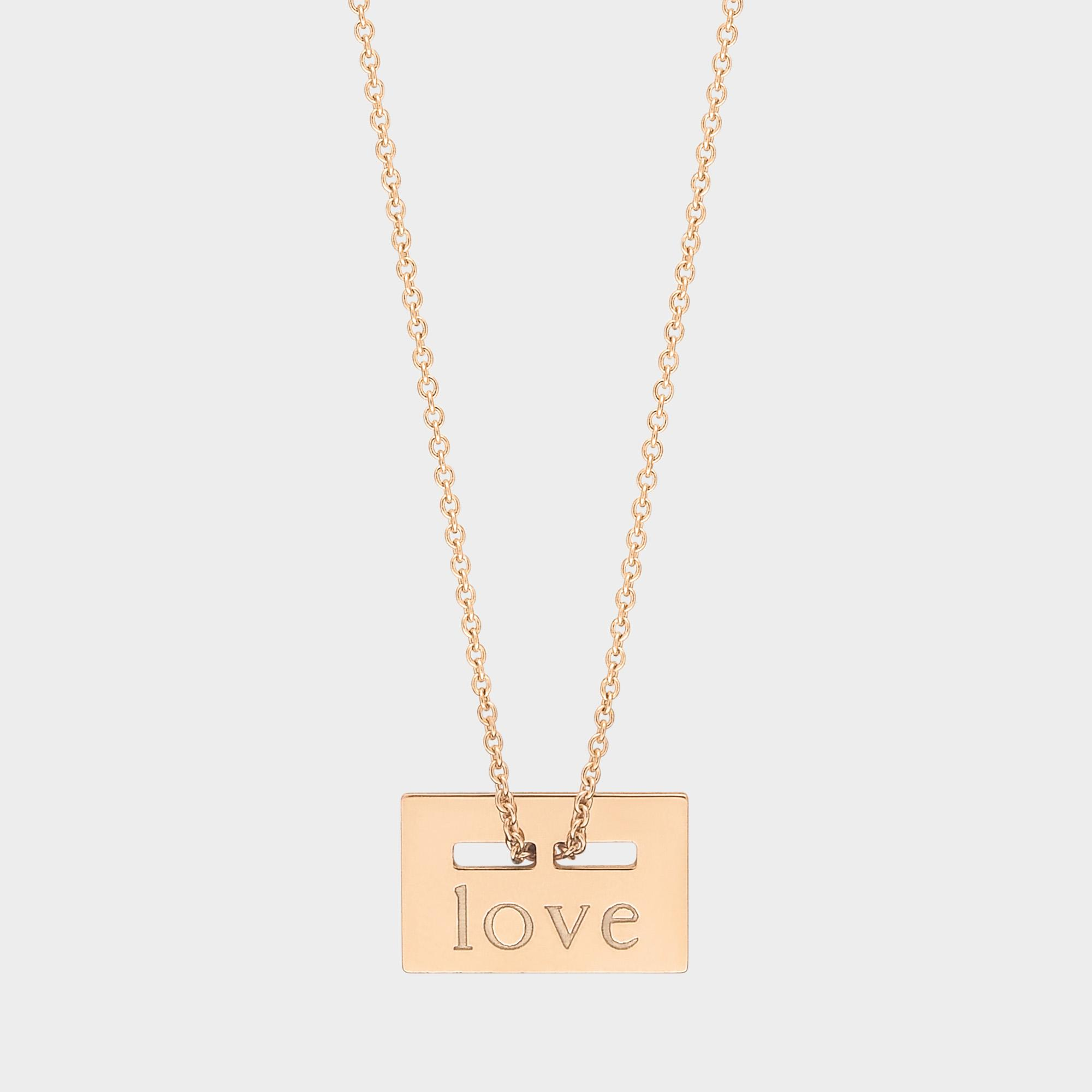 Mini Plate Love 18-karat rose gold necklace Ginette NY d7VkxB