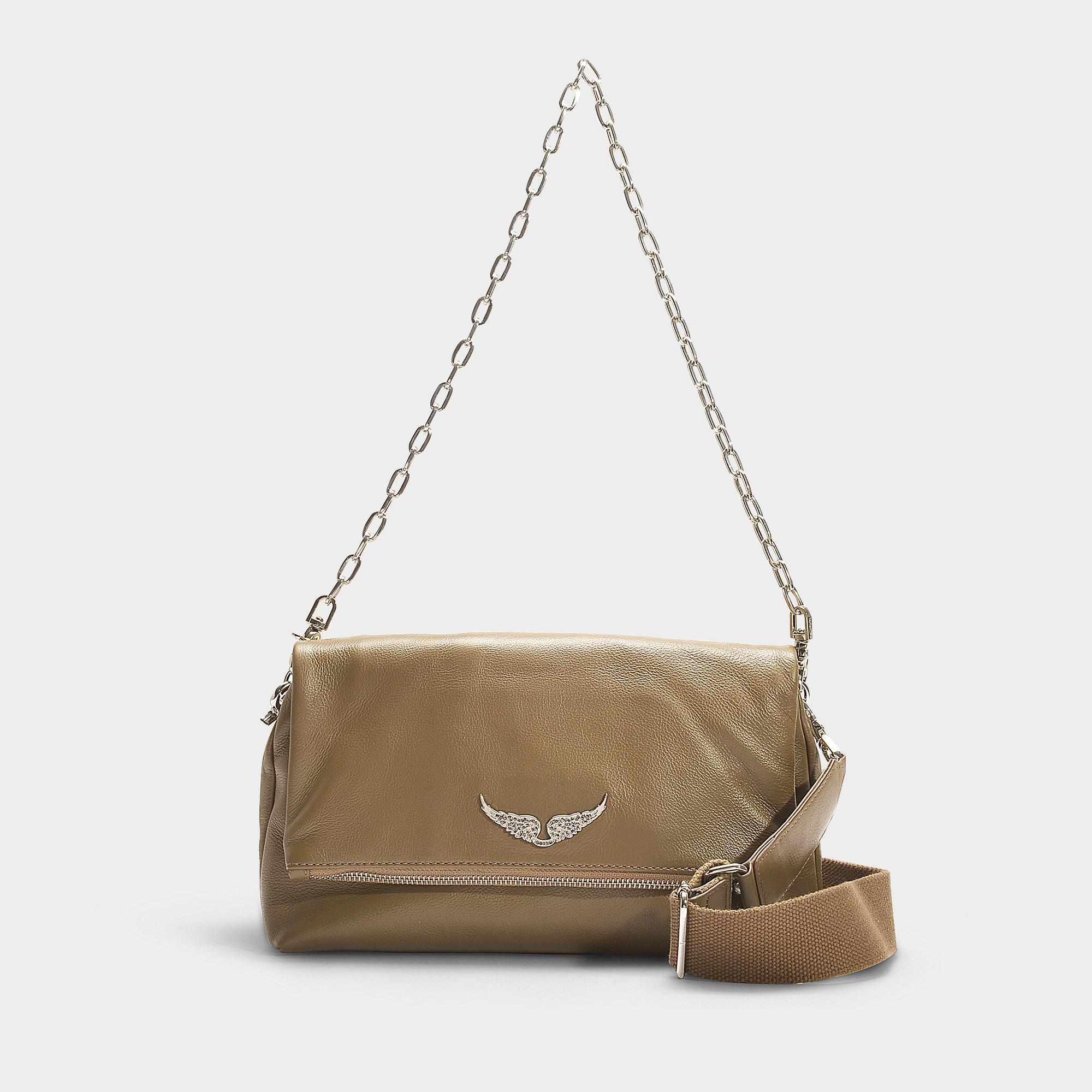 Zadig Voltaire Rocky Crossbody Bag In Taupe Calfskin In Beige Natural Lyst