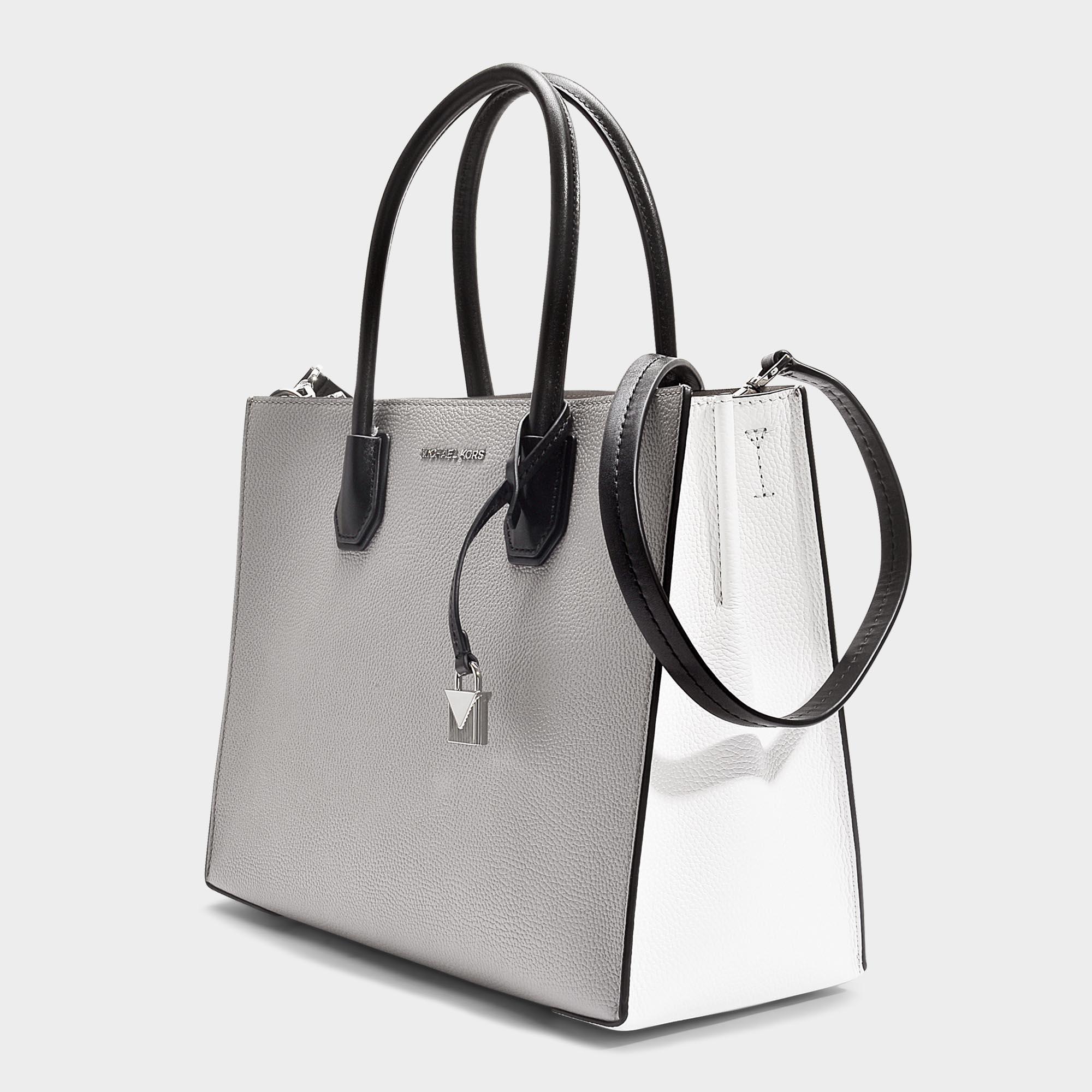 Grand sac cabas mercer convertible en cuir grainé gris perle, blanc et noir