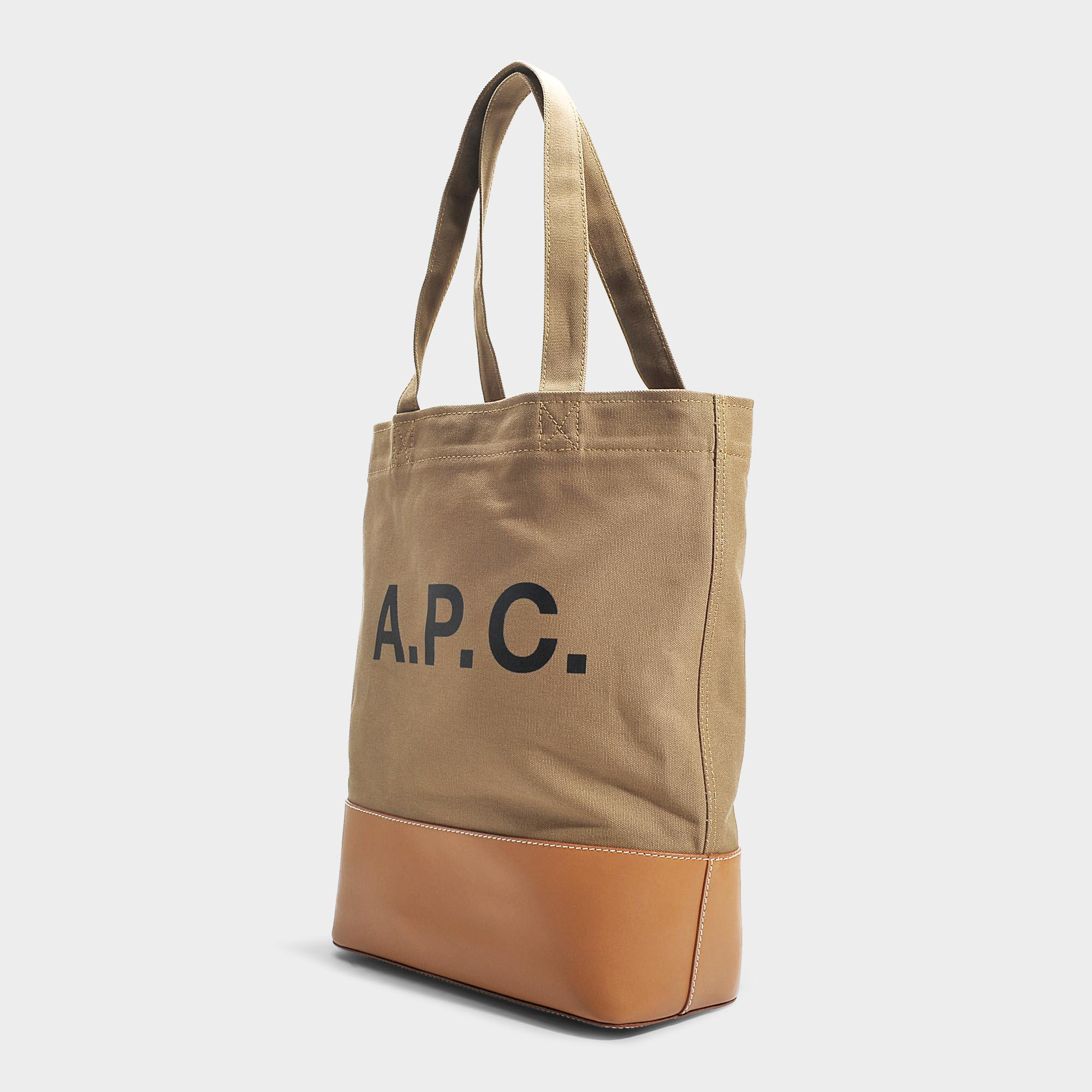 57b674d63f Lyst - A.P.C. Axel Tote Bag In Kaki Canvas And Smooth Leather