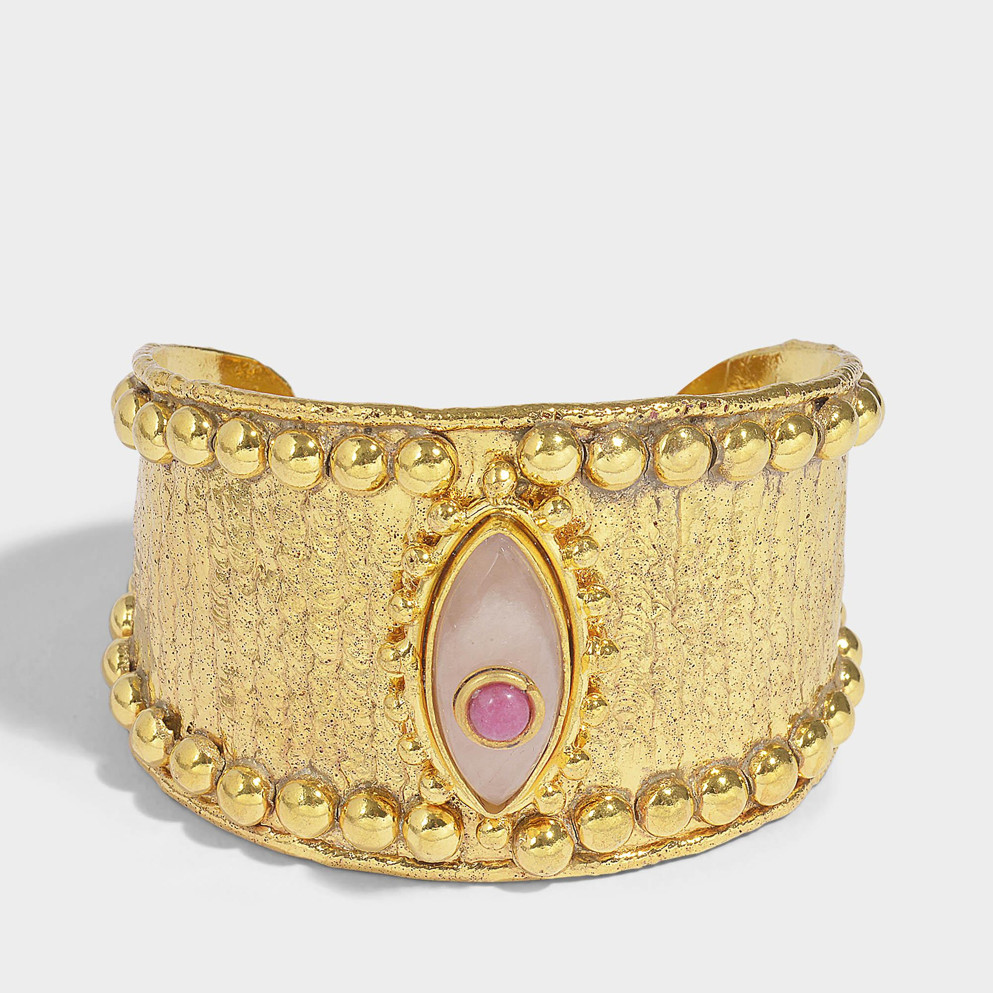 Sylvia Toledano Byzance Cuff Bracelet in Gold-Plated Brass with White Pearls ynMhcWpQD