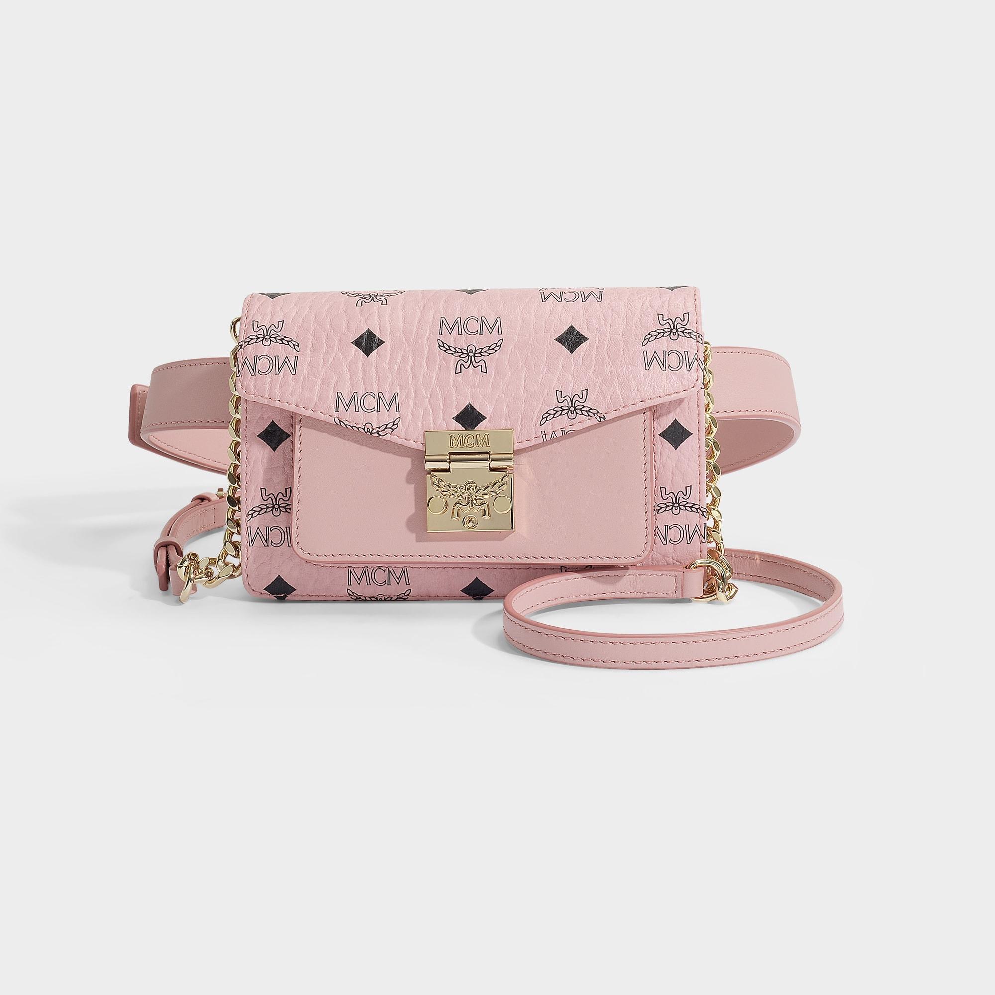 78f8eb61ca8 MCM Patricia Visetos Xmini Belt Bag In Pale Pink Coated Canvas