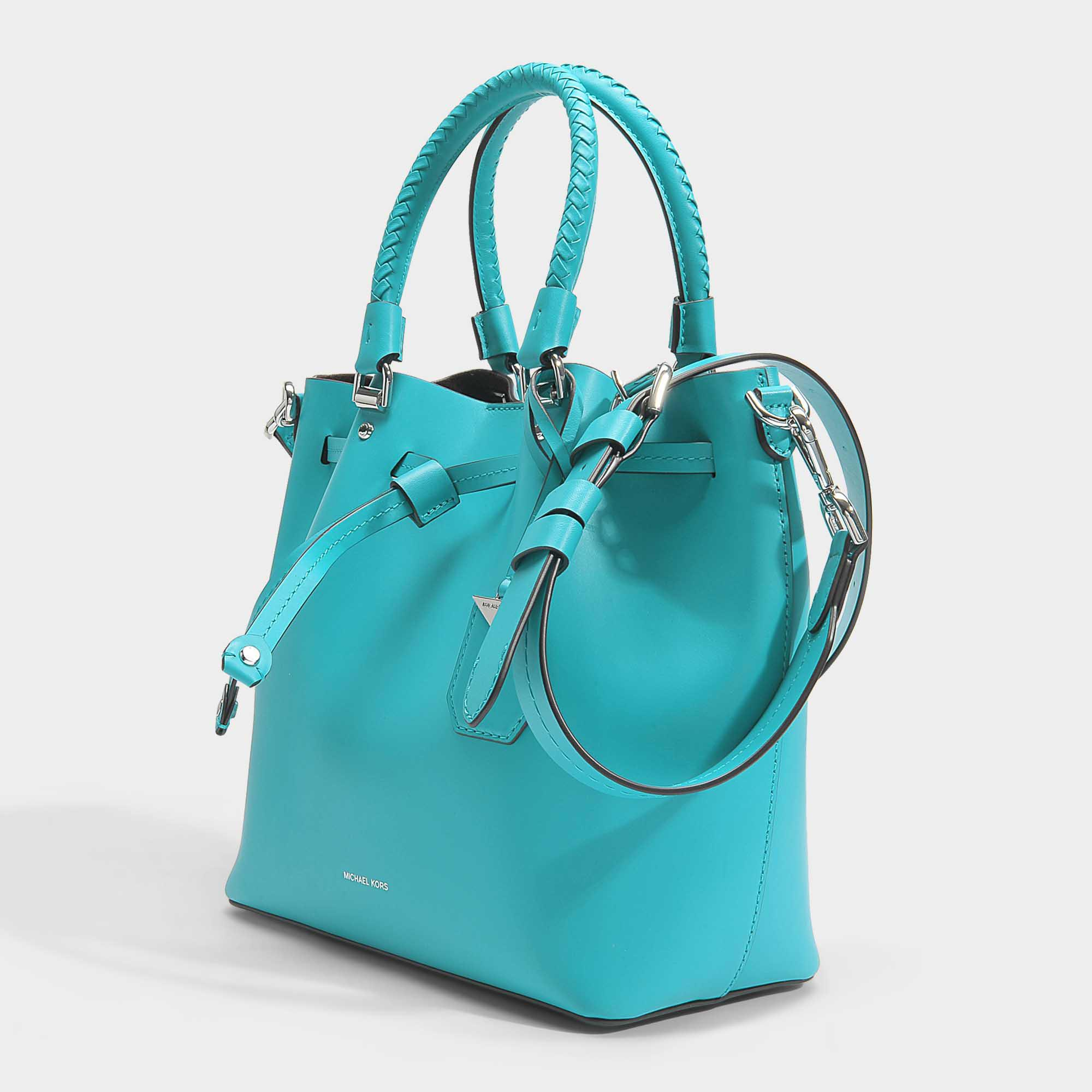 Blakely Medium Bucket Bag In Tile Blue Viola Leather