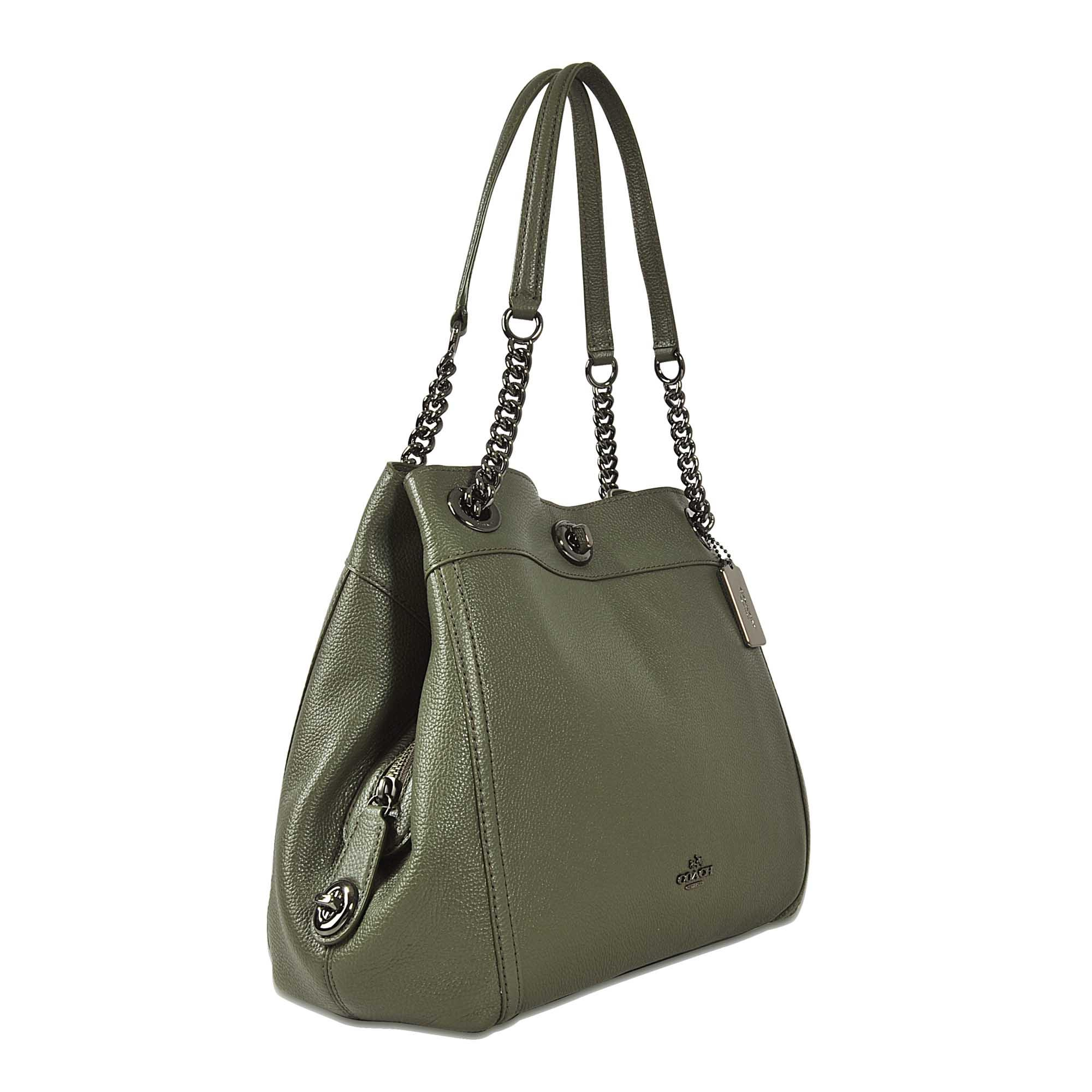 Lyst - Coach Turnlock Edie Shoulder Bag in Green 96d35e783f955