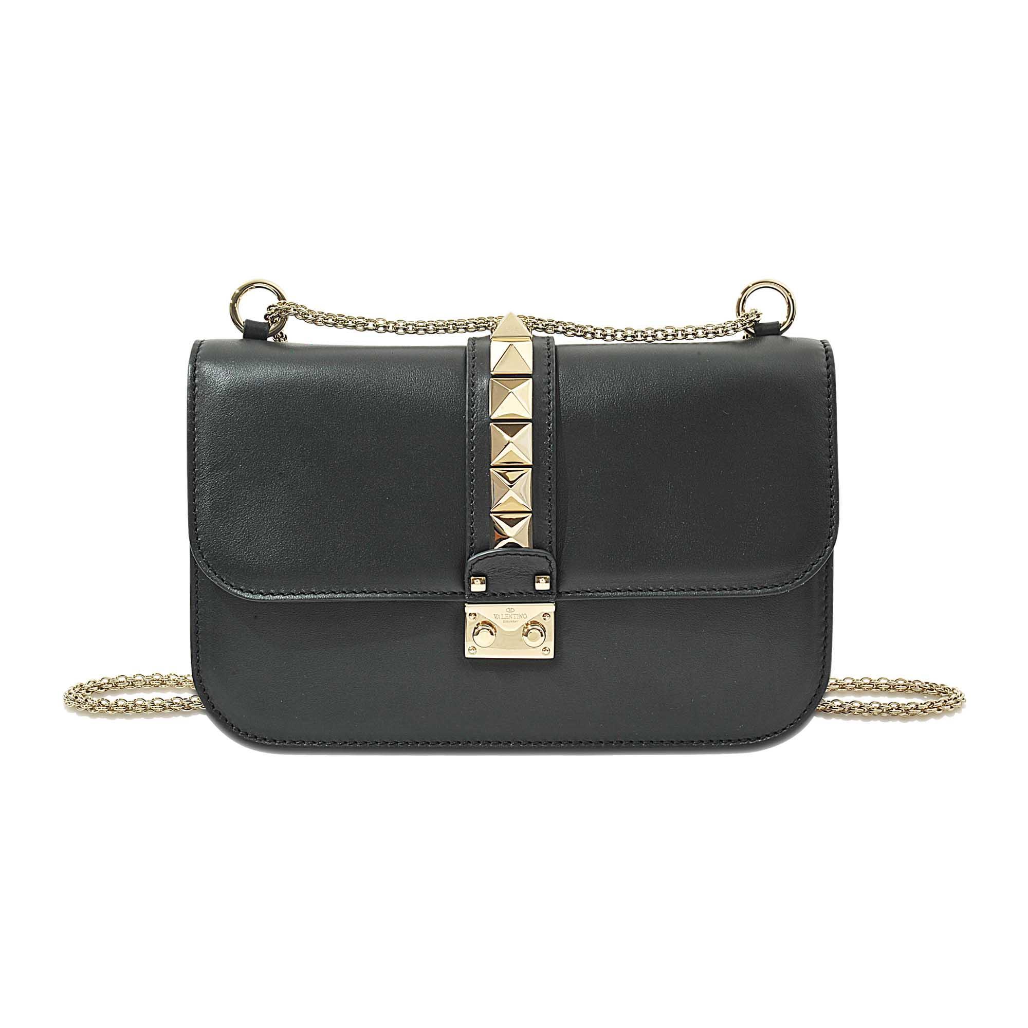 lyst valentino lock medium shoulder bag in black save 14. Black Bedroom Furniture Sets. Home Design Ideas