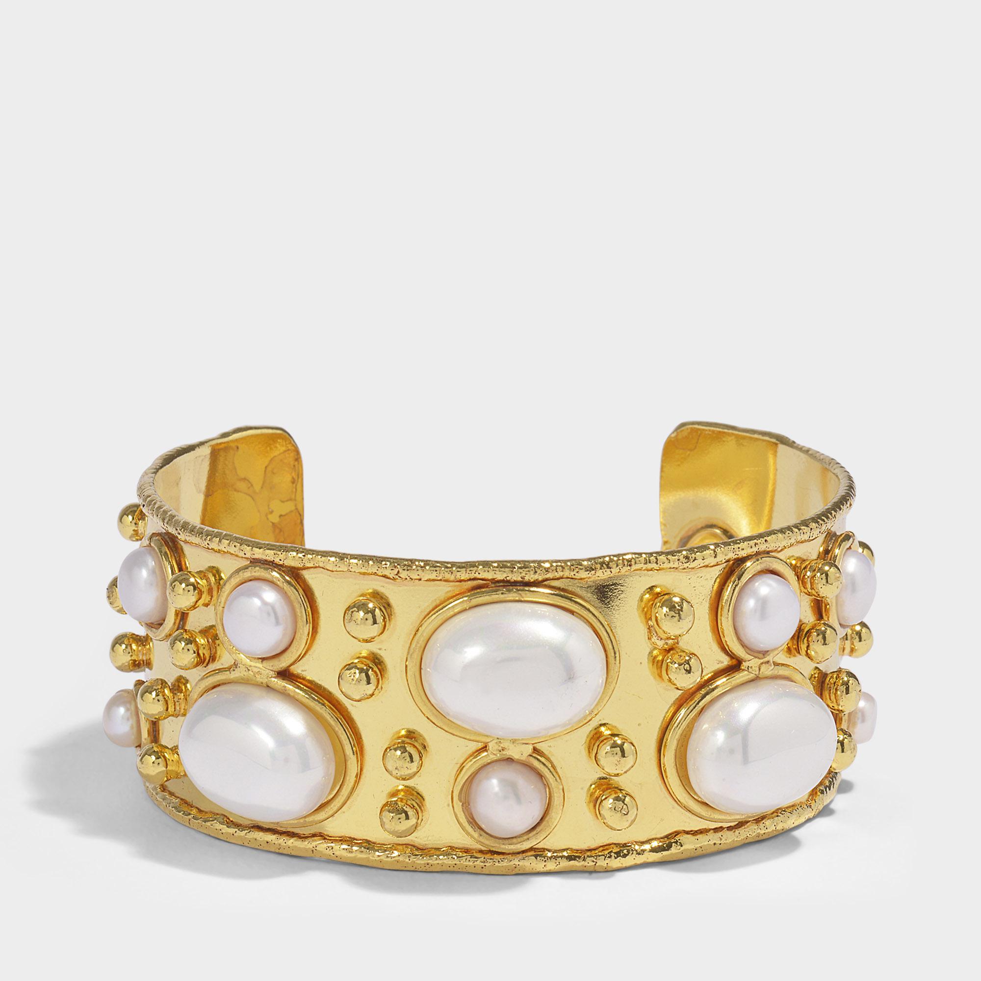 Sylvia Toledano Byzantine Cuff Bracelet in Gold-Plated Brass with White Pearls vqxya2Vjdr