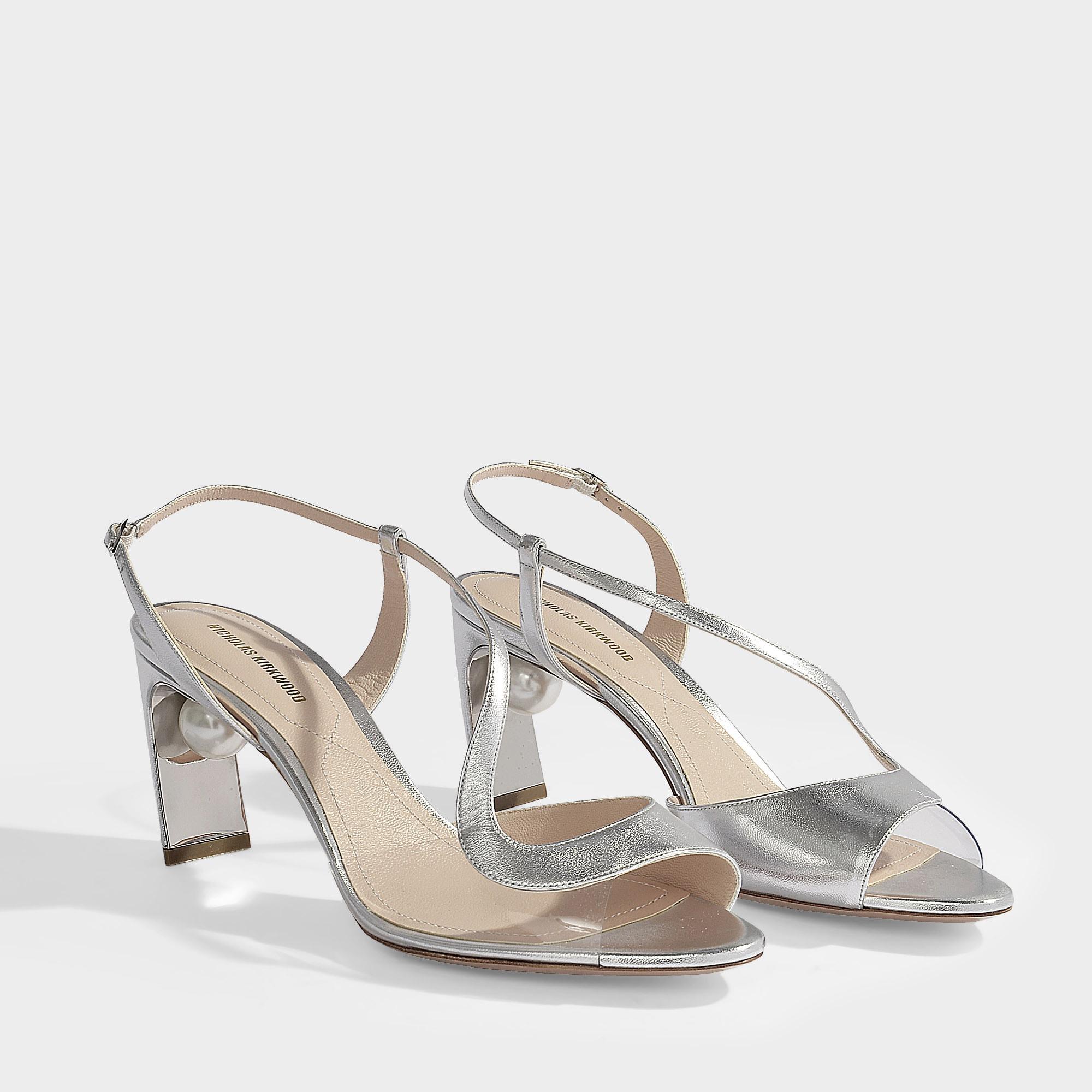 4ff3bf2537d2 Nicholas Kirkwood - Multicolor 70mm Maeva Pearl S Sandals In Silver  Metallic Nappa Leather - Lyst. View fullscreen
