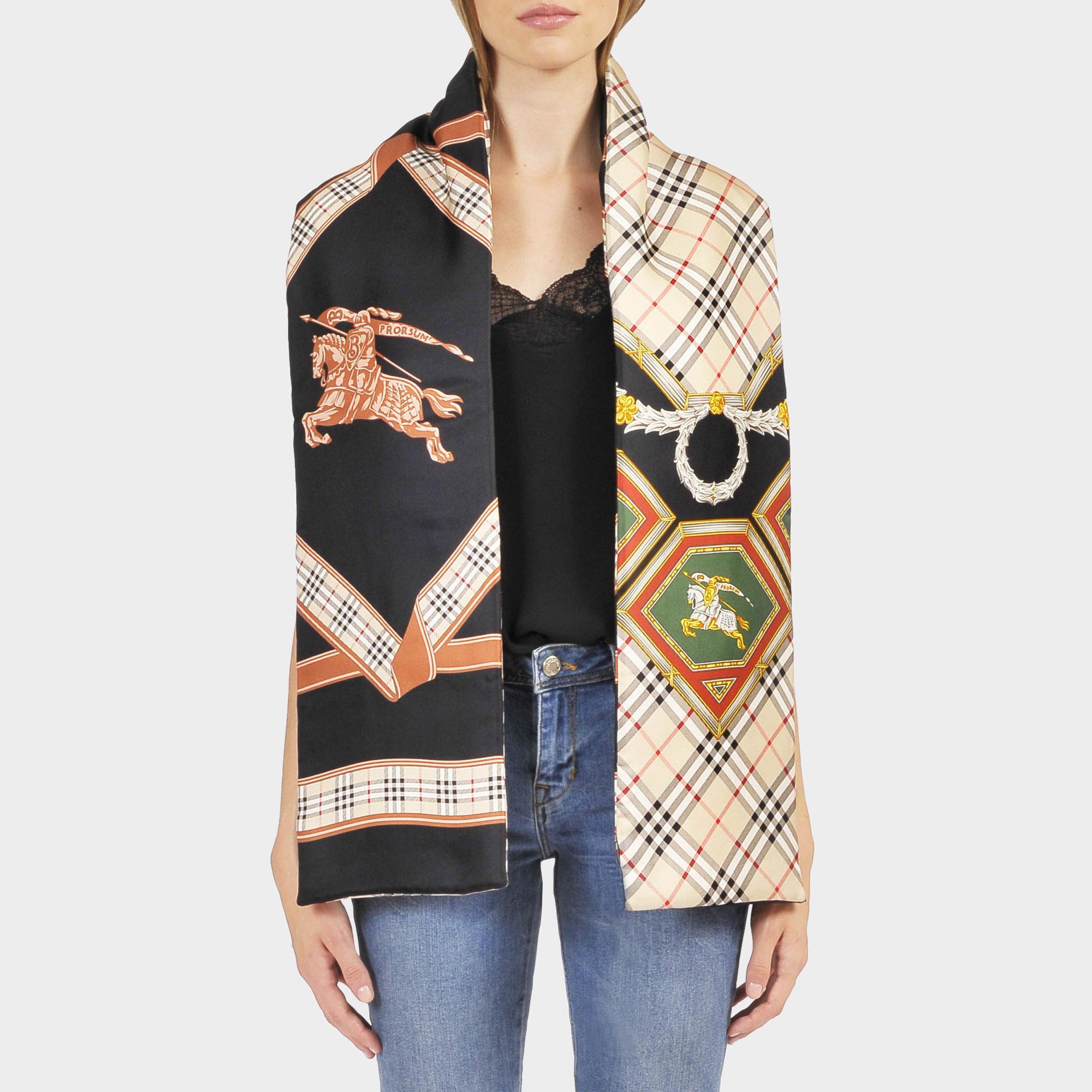5d48300fbcf0 ... best price burberry puffer scarf in blue silk in blue lyst 46aa4 22893