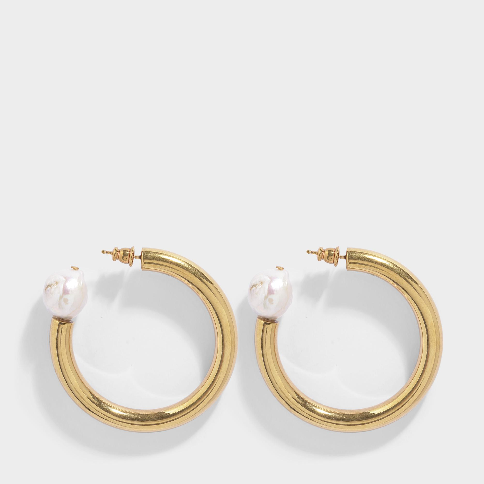 Sonia Rykiel Loop Earrings with a Pearl in Gold Brass and Pearl wkgcs