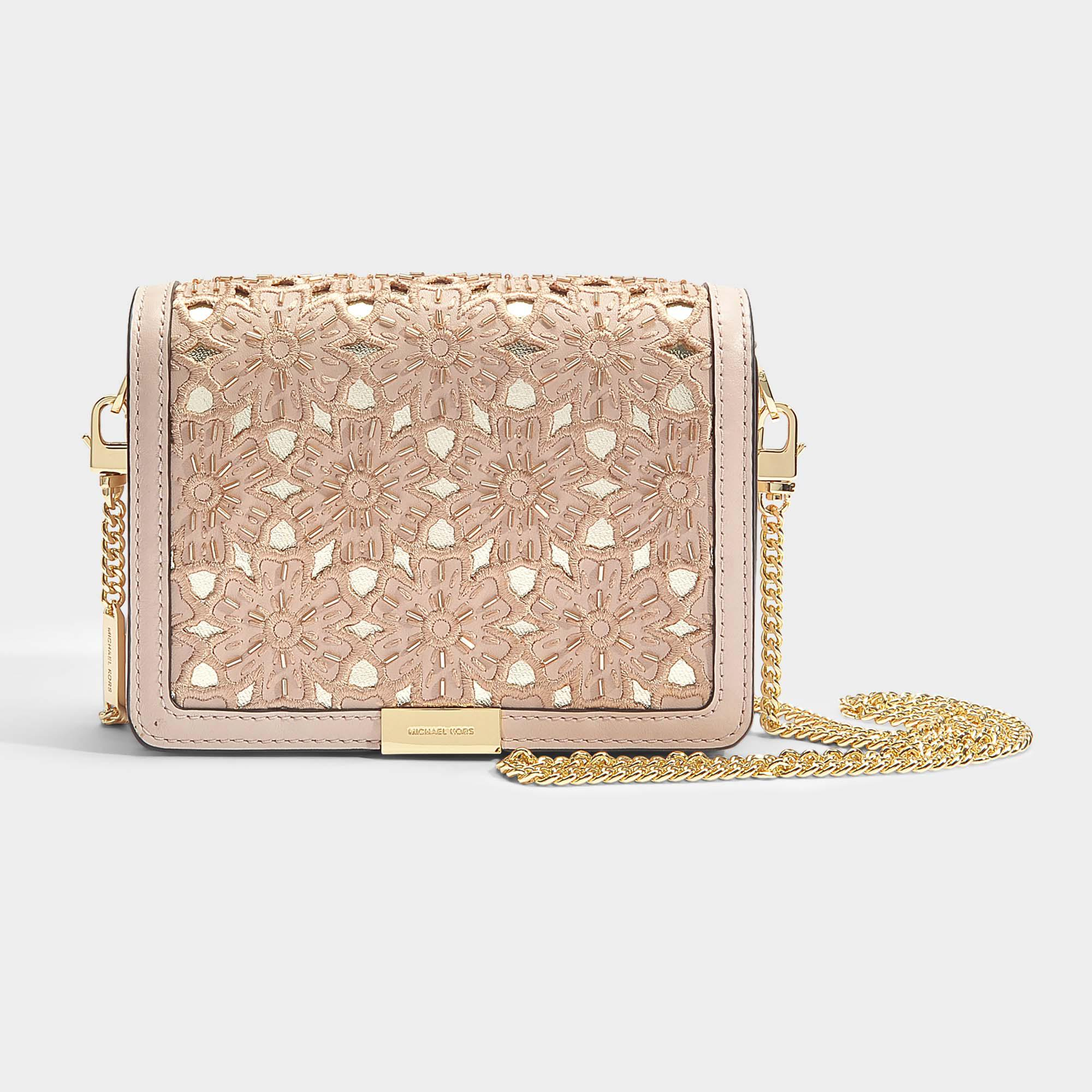 7437c88f85aa MICHAEL Michael Kors Jade Medium Gusset Clutch In Soft Pink Flower ...