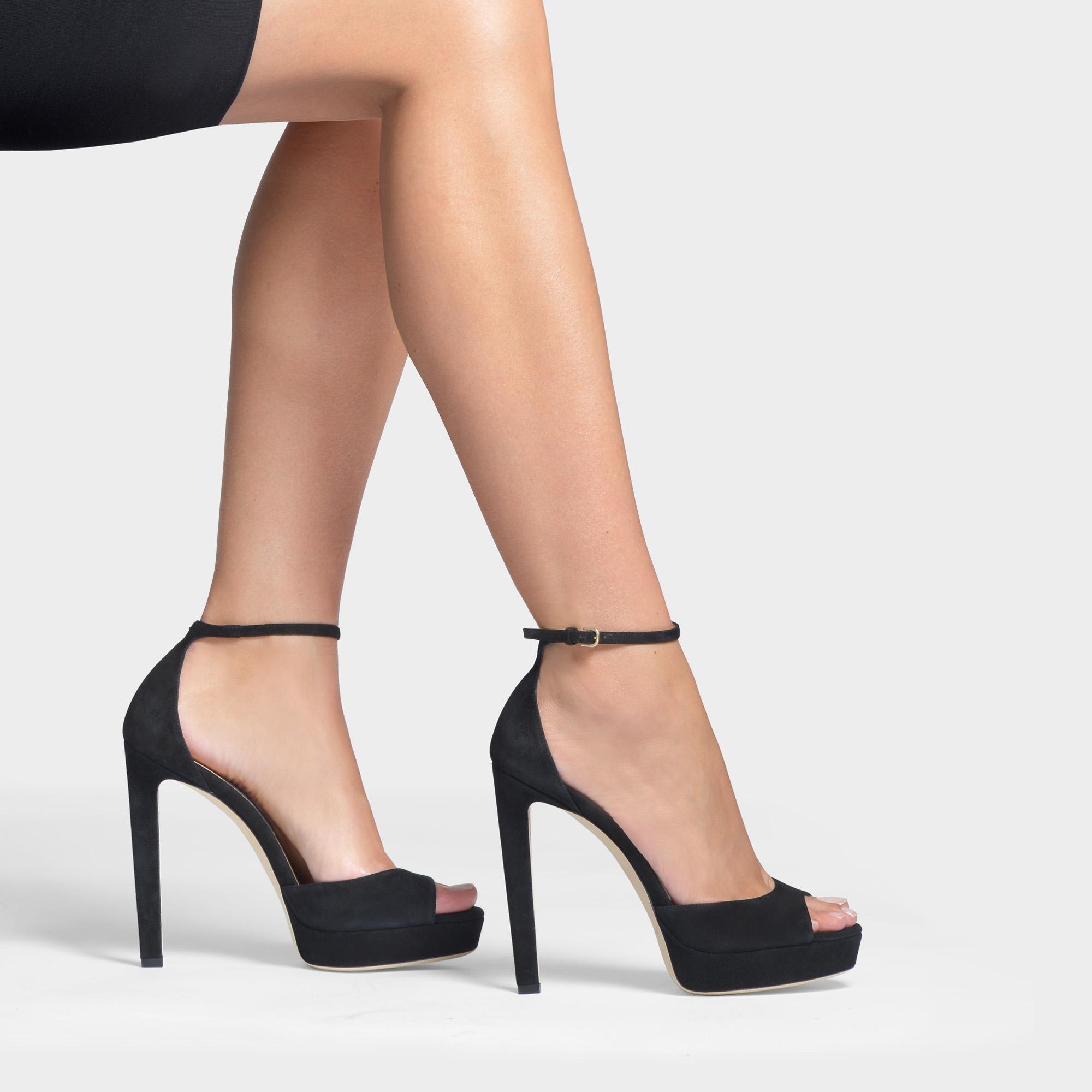 3306366c7aa Jimmy Choo - Pattie 130 Platform Sandals In Black Suede - Lyst. View  fullscreen