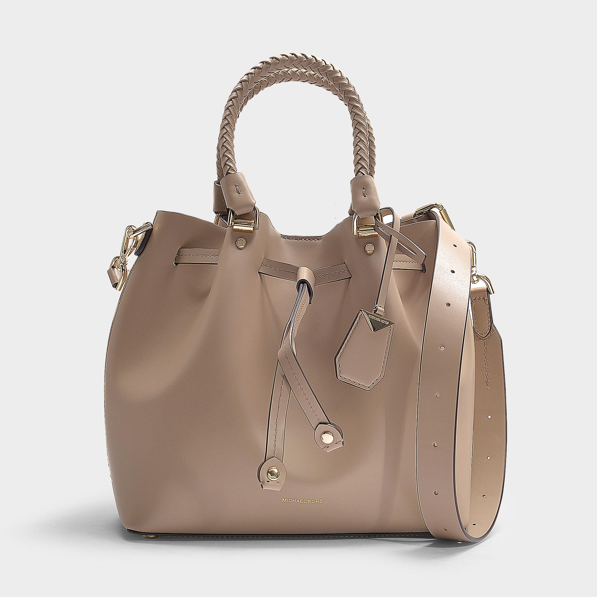 eaa1e1ab9f22 MICHAEL Michael Kors. Women's Natural Blakely Medium Bucket Bag In Truffle  Calfskin